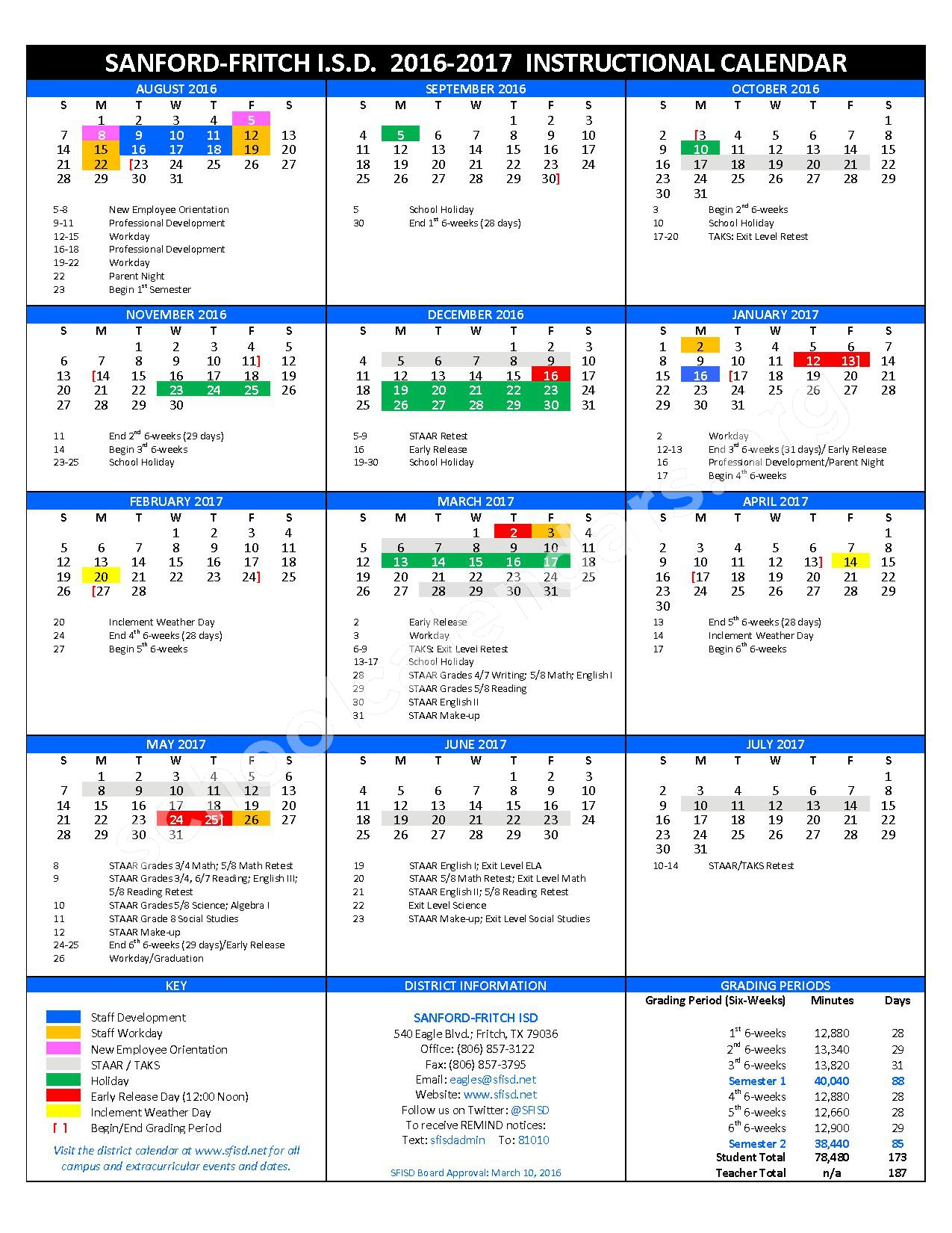 2016 - 2017 District Calendar – Sanford-Fritch Junior High School – page 1