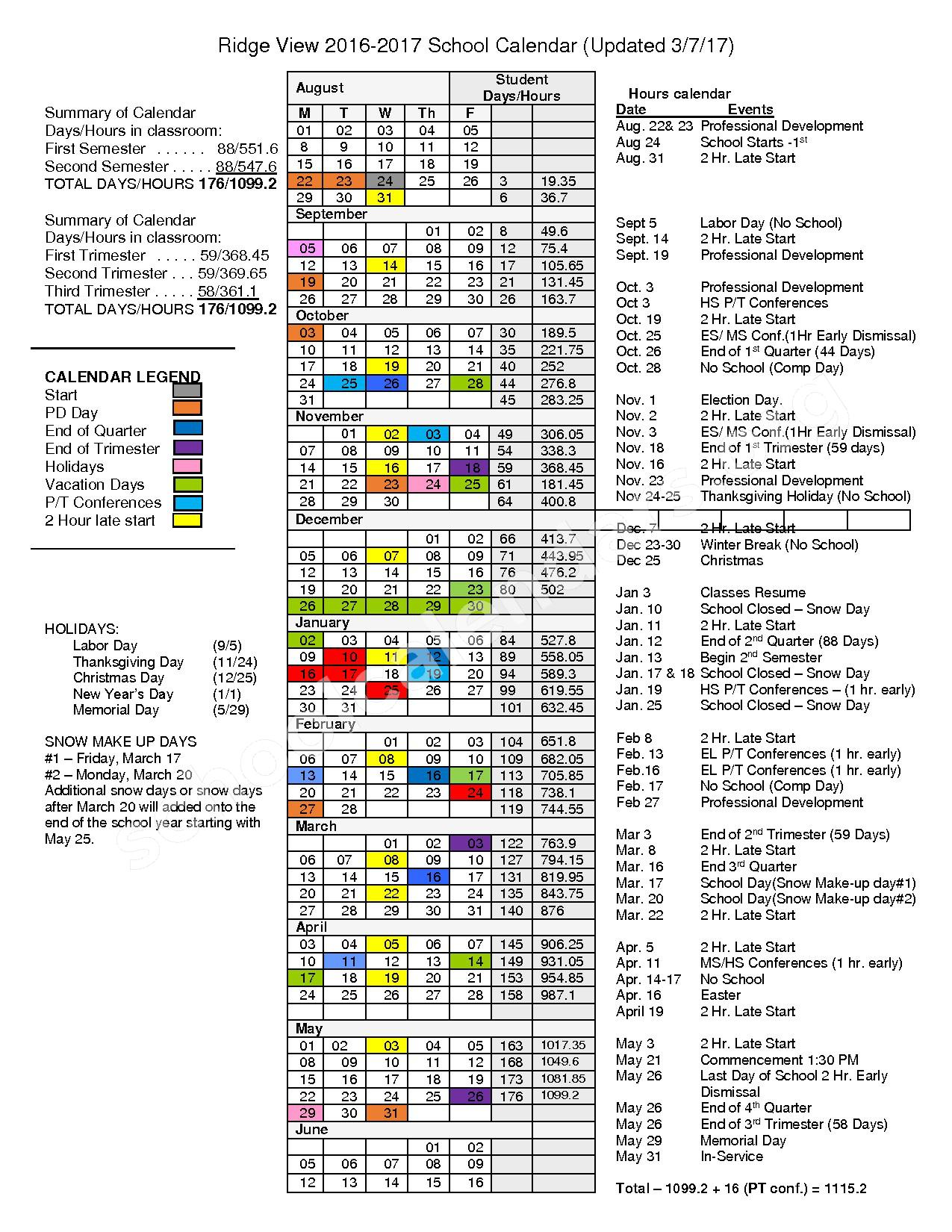 2016 - 2017 School Calendar – Ridge View Community School District – page 1