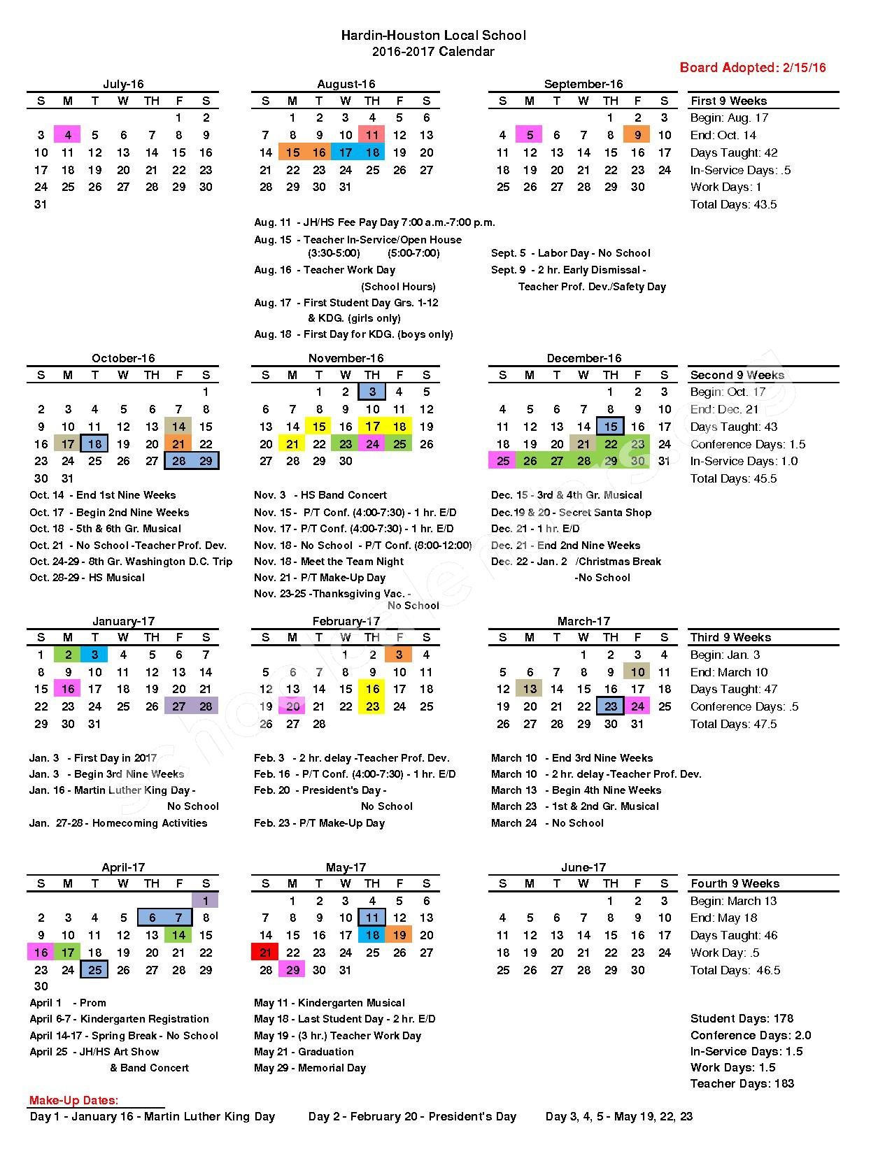 2016 - 2017 District Calendar – Houston High School – page 1