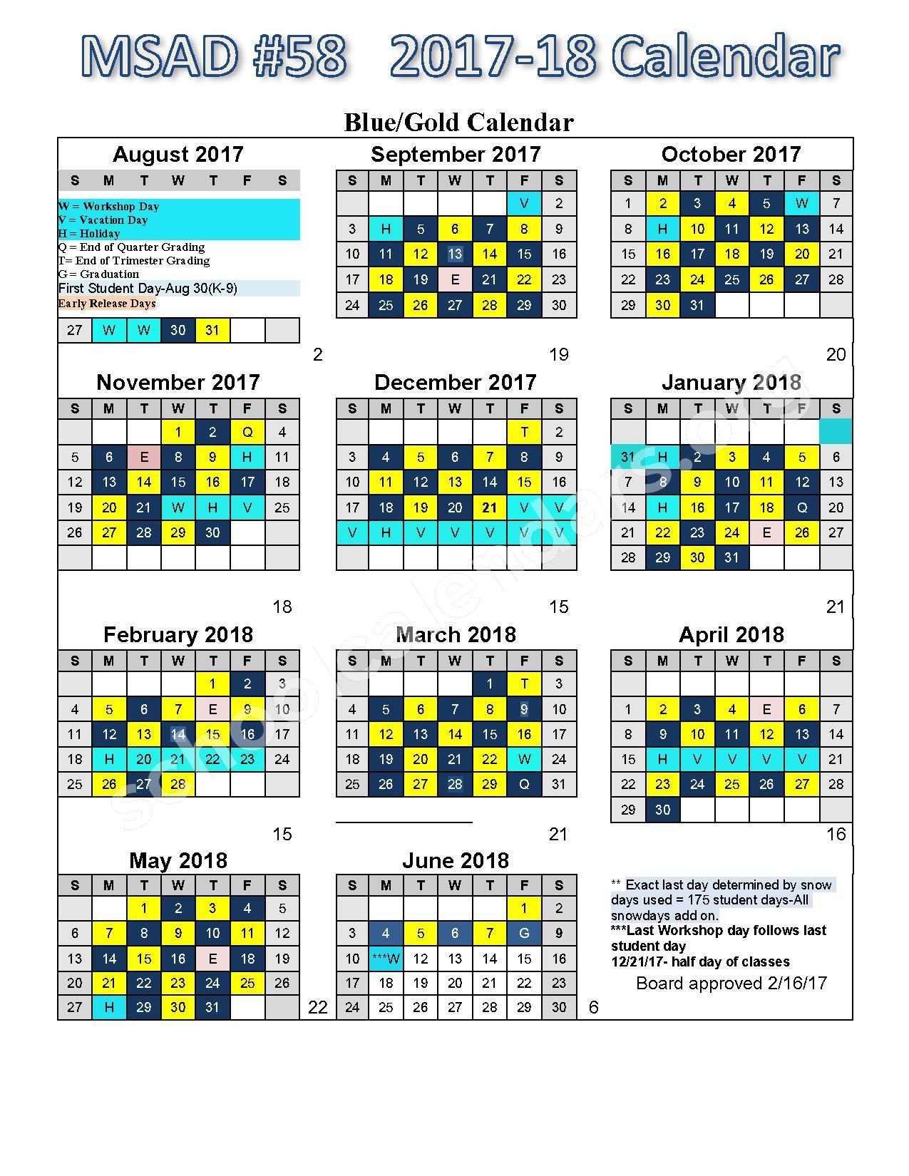 2017 - 2018 School Calendar – RSU 58/MSAD 58 - Kingfield, Avon, Strong – page 1