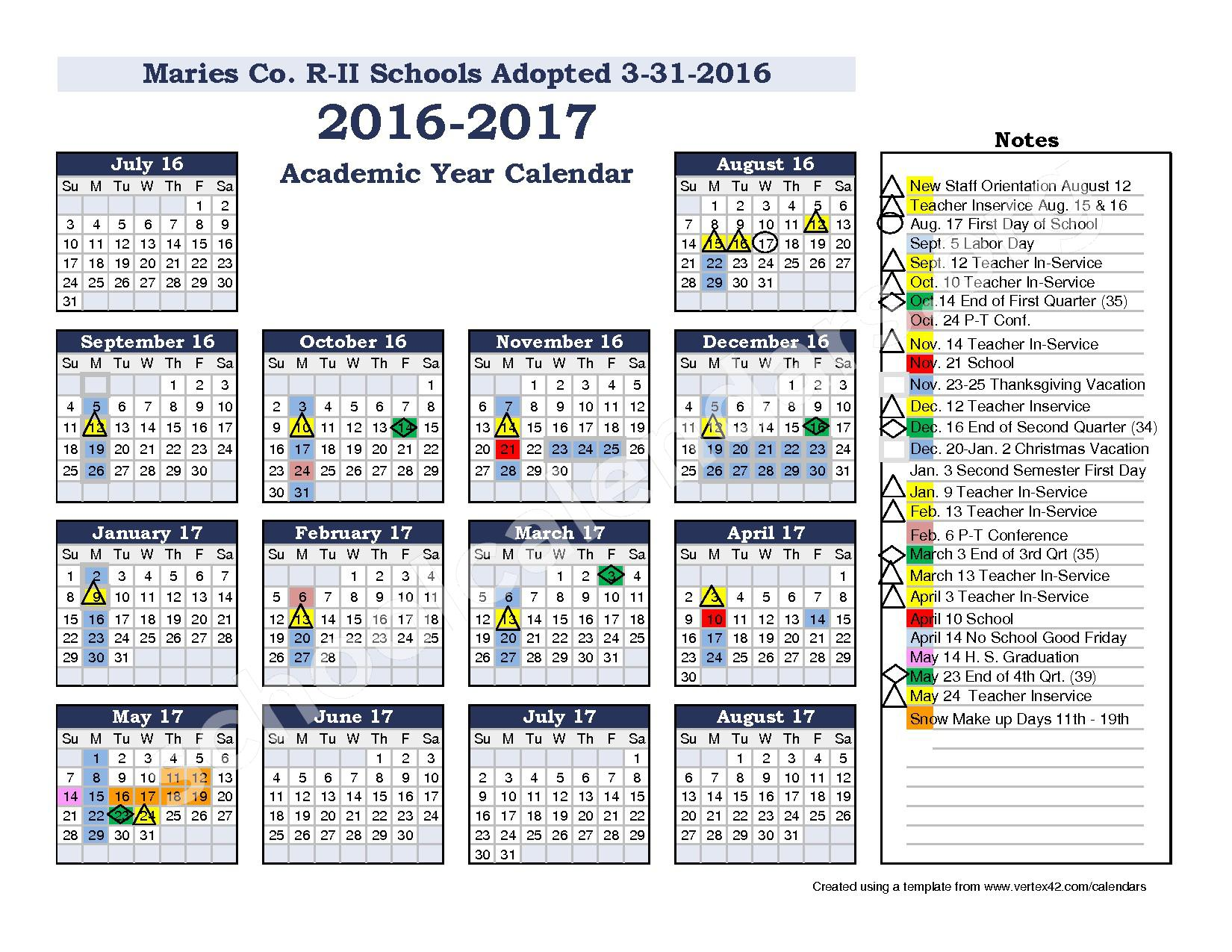2016 - 2017 School Calendar – Maries County R-2 School District – page 1