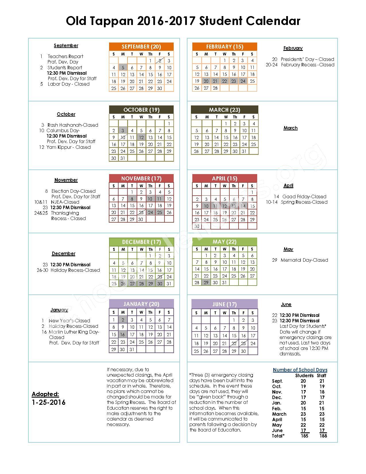 2016 - 2017 School Calendar – Old Tappan Public Schools – page 1