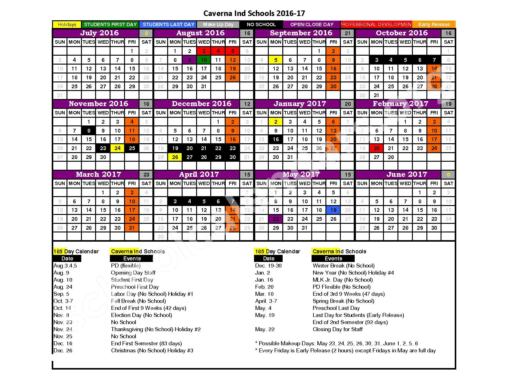 2016 - 2017 School Calendar – Caverna Independent School District – page 1