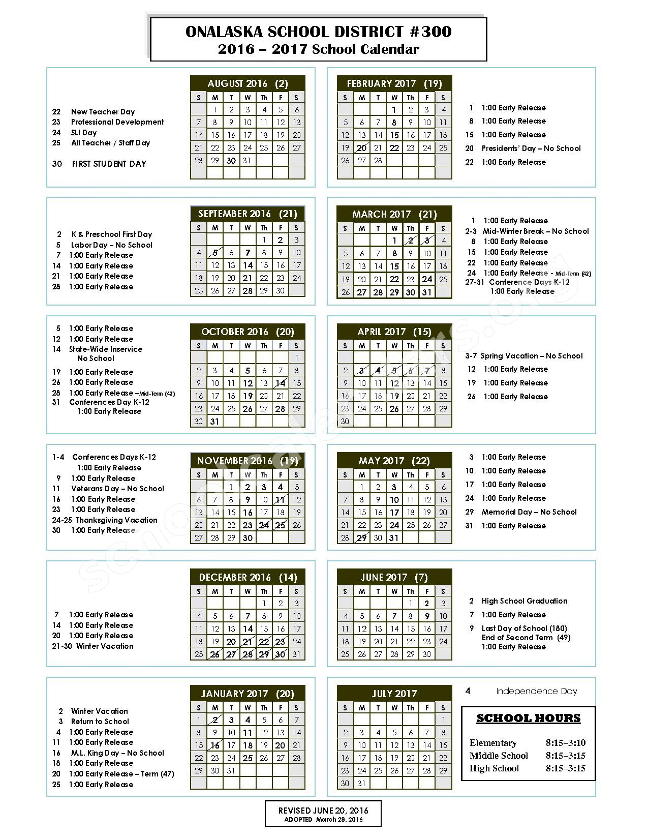 2016 - 2017 District Calendar – Onalaska School District – page 1