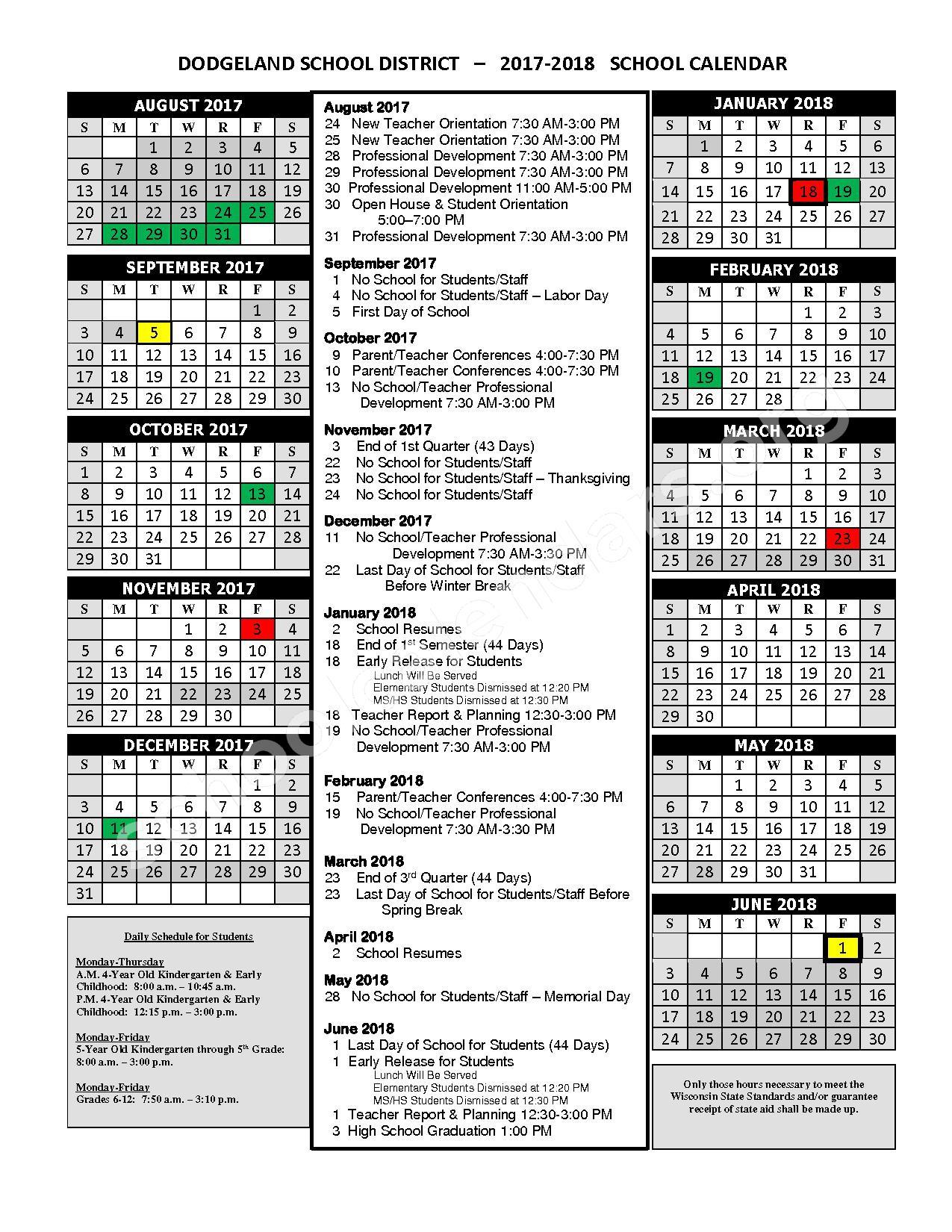 2017 - 2018 School Calendar – Dodgeland School District – page 1