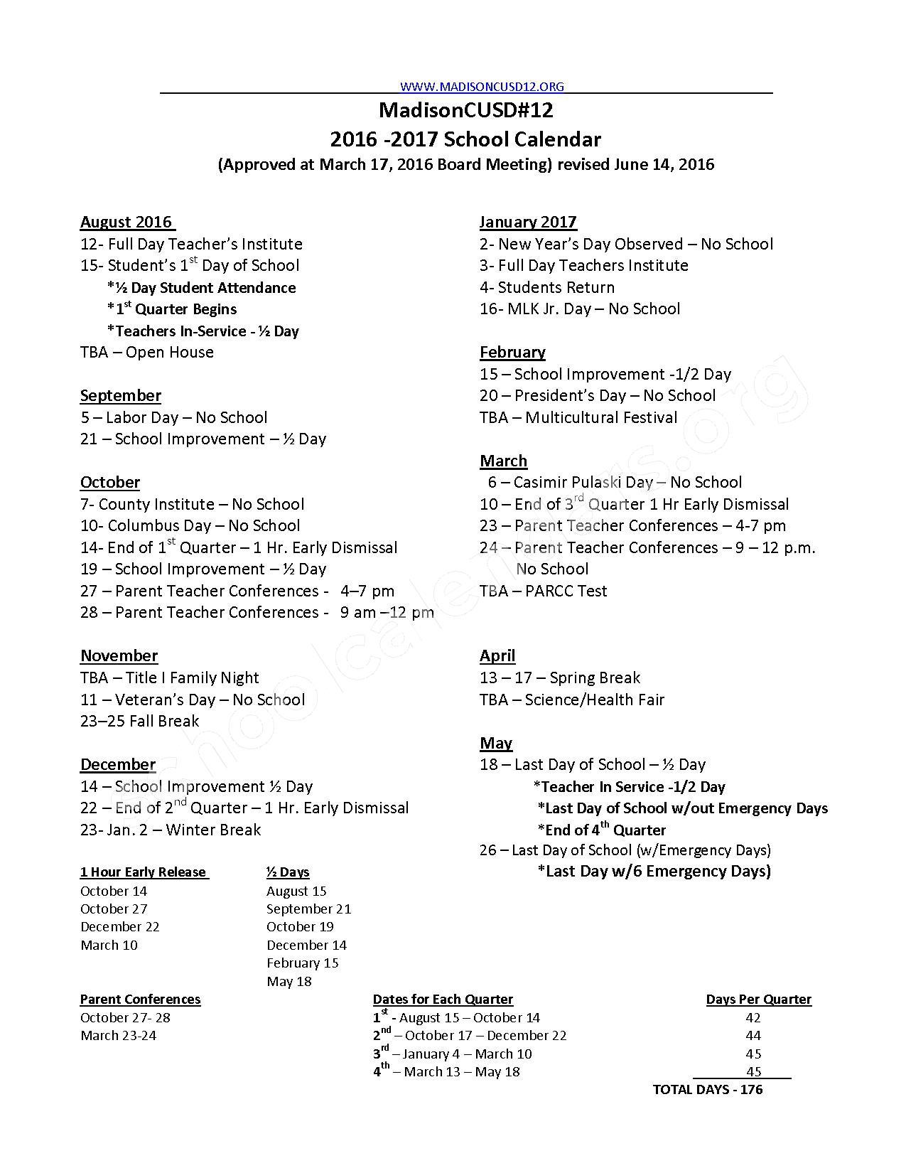 2016 - 2017 School Calendar – Madison Community Unit School District 12 – page 1