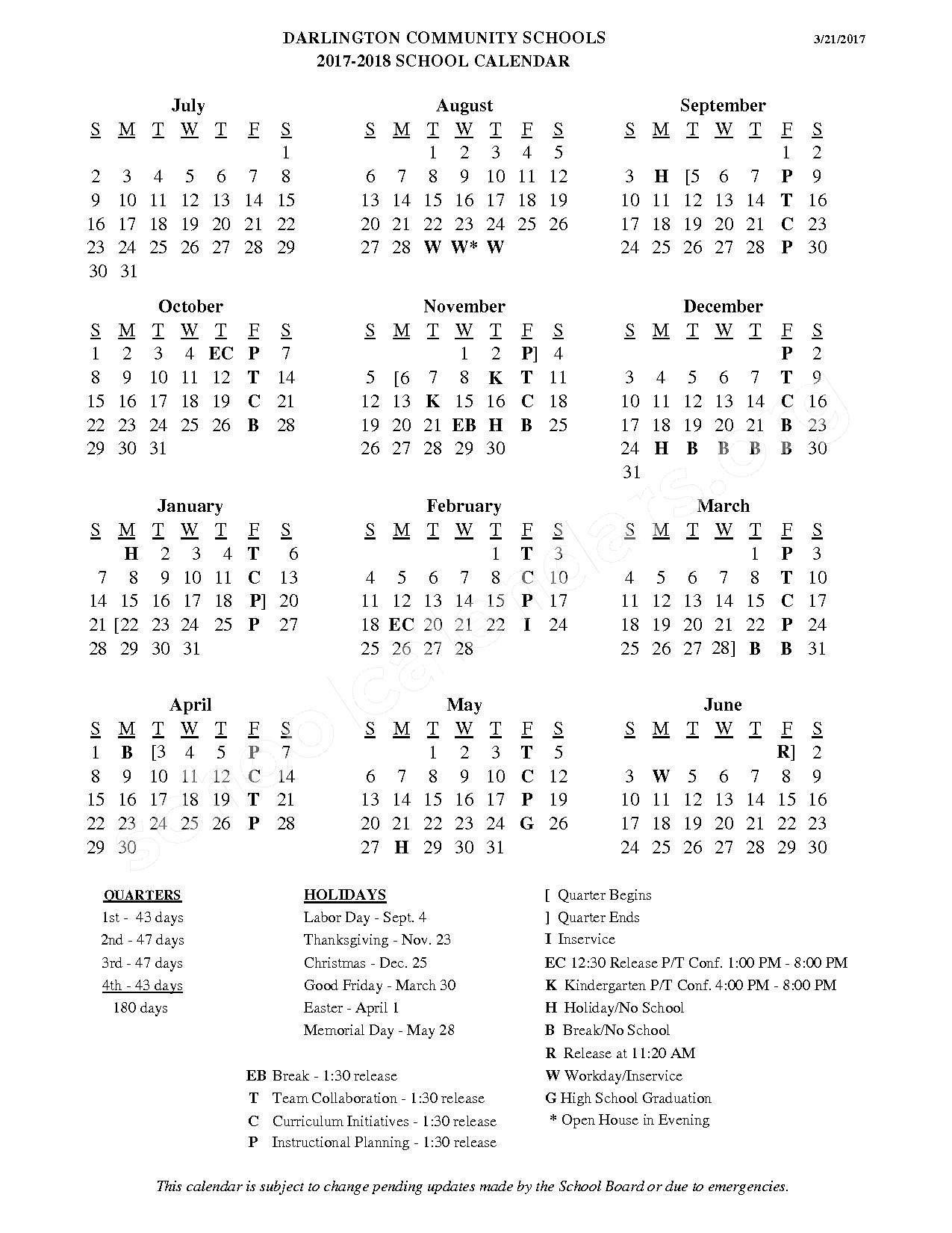 2017 - 2018 School Calendar – Darlington Community School District – page 1