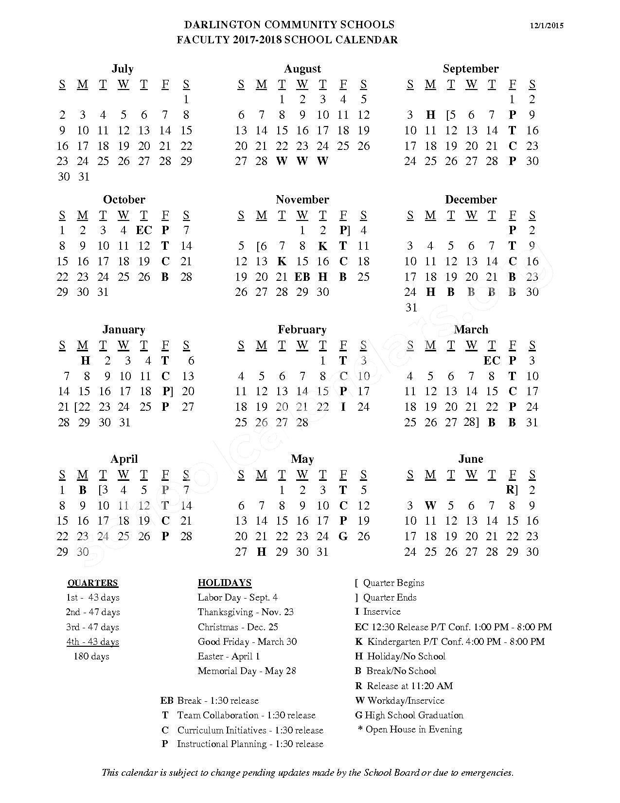 2017 - 2018 School Calendar – Darlington Community School District – page 1