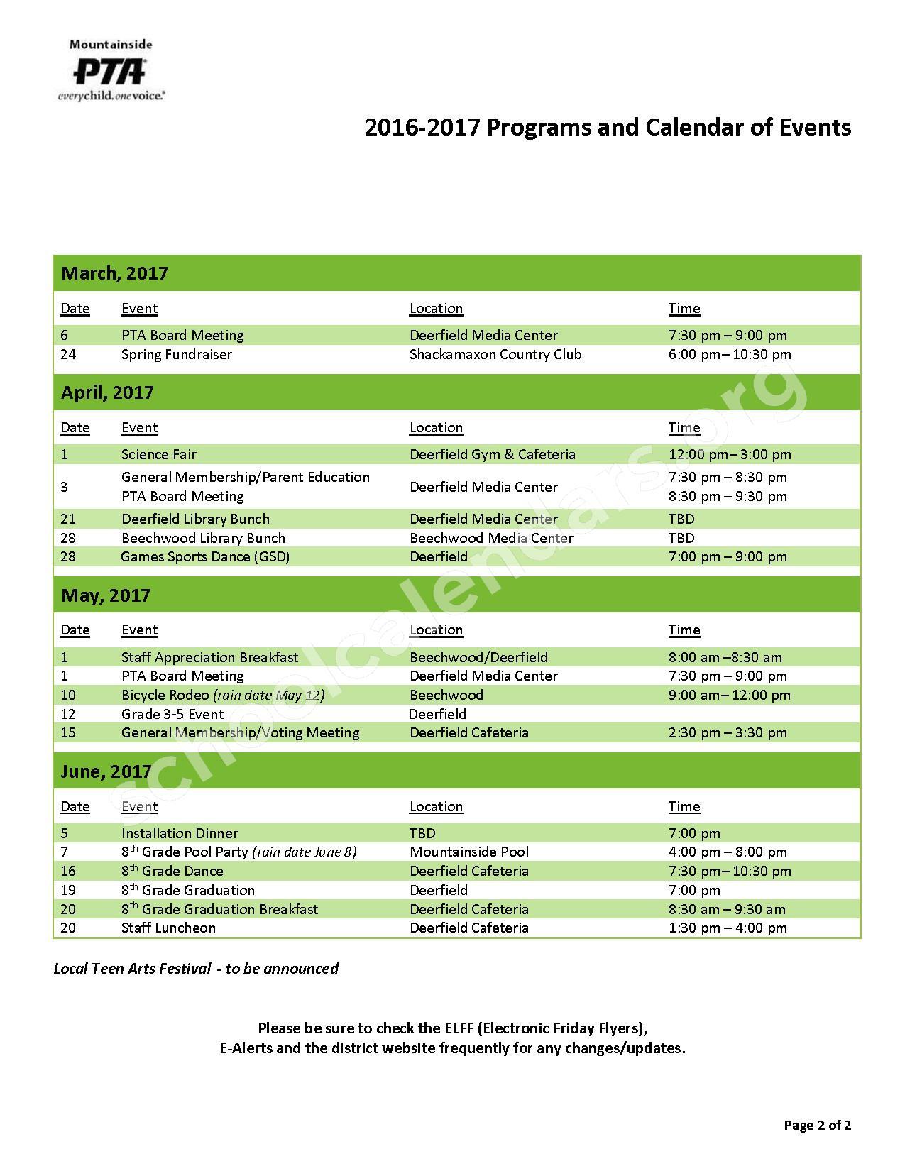2016 - 2017 School Calendar – Mountainside School District – page 2