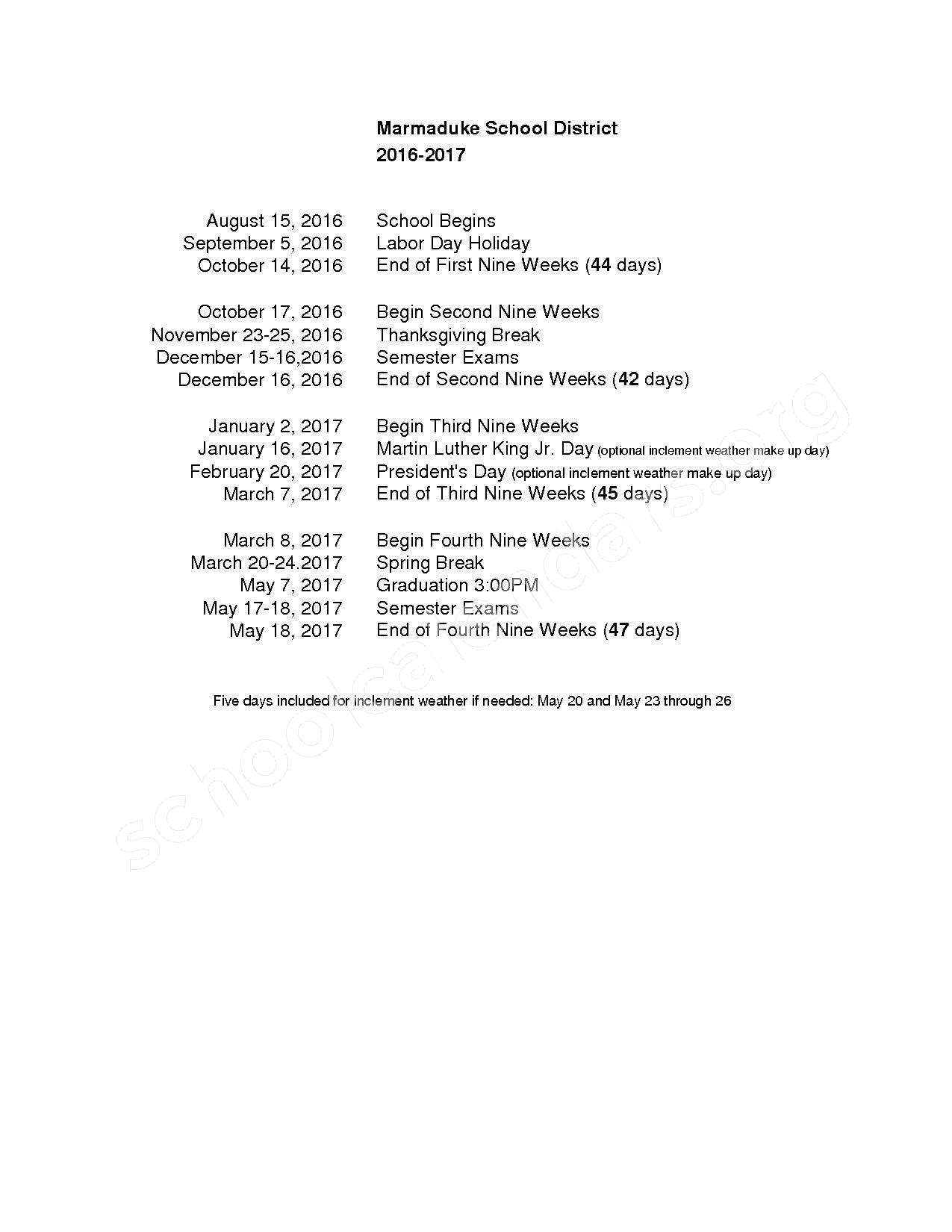 2016 - 2017 School Calendar – Marmaduke School District – page 1