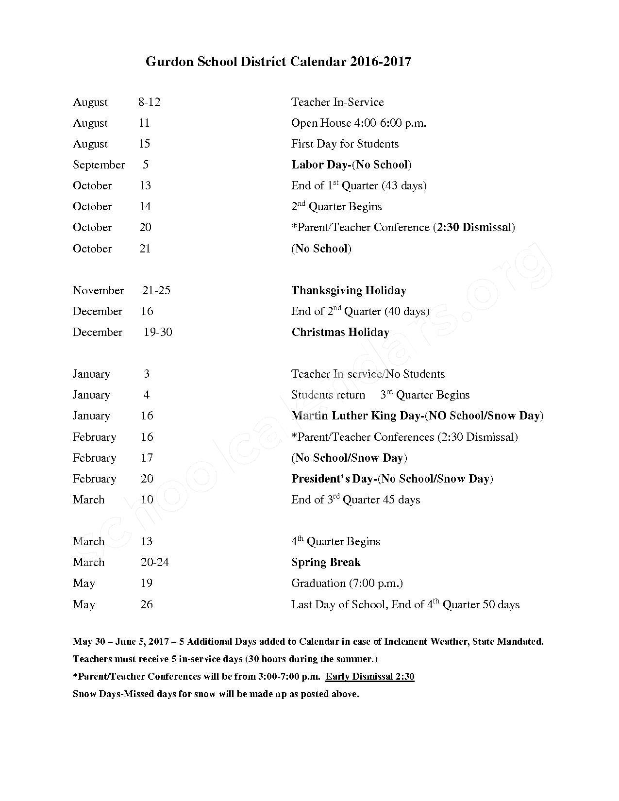 2016 - 2017 District Calendar – Gurdon School District – page 1