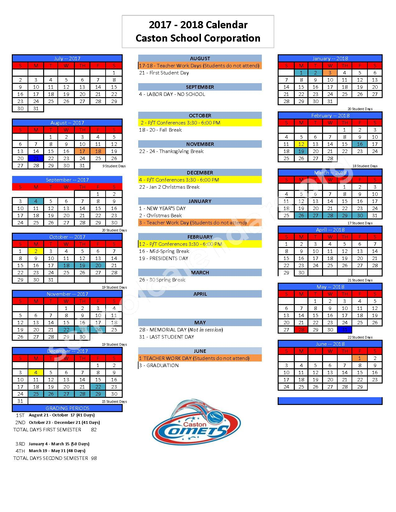 2017 - 2018 District Calendar – Caston School Corporation – page 1