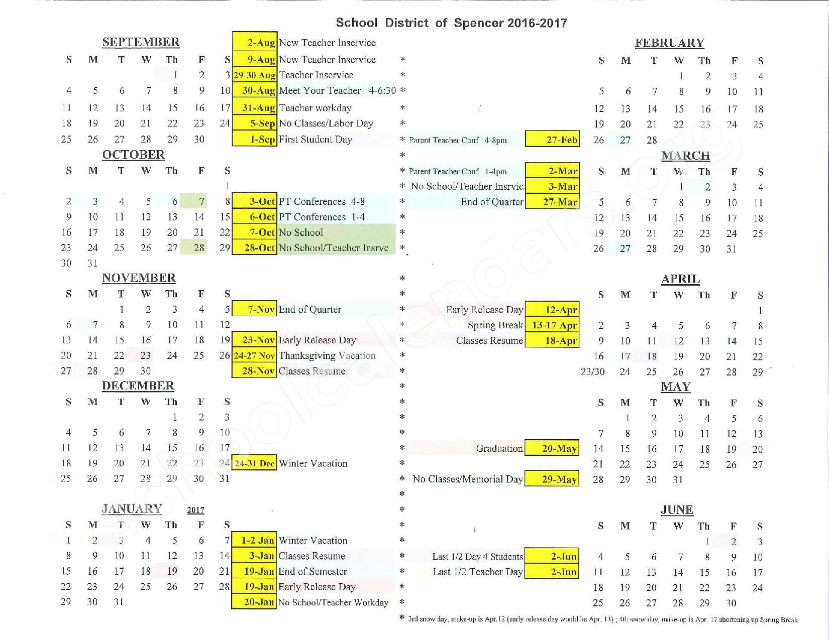 2016 - 2017 Academic Calendar – Spencer School District – page 1