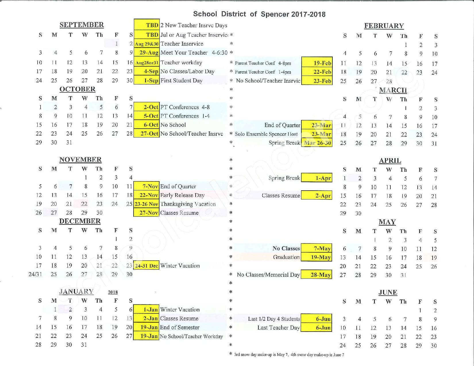 2017 - 2018 Academic Calendar – Spencer Junior High School / High – page 1