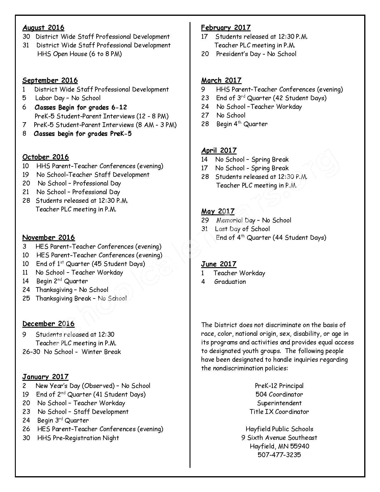 2016 - 2017 School Calendar – Hayfield High School – page 2