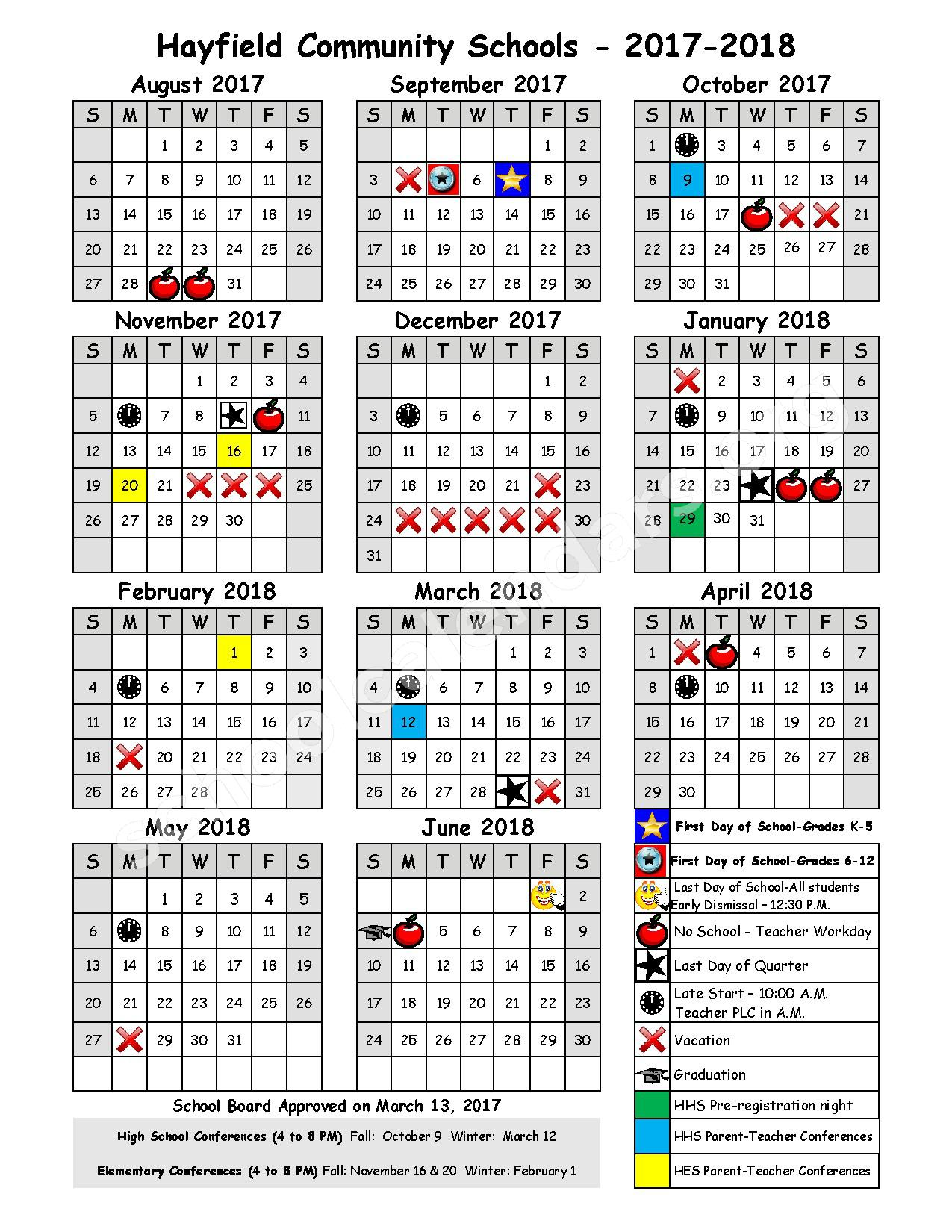 2017 - 2018 District Calendar – Hayfield Public School District – page 1