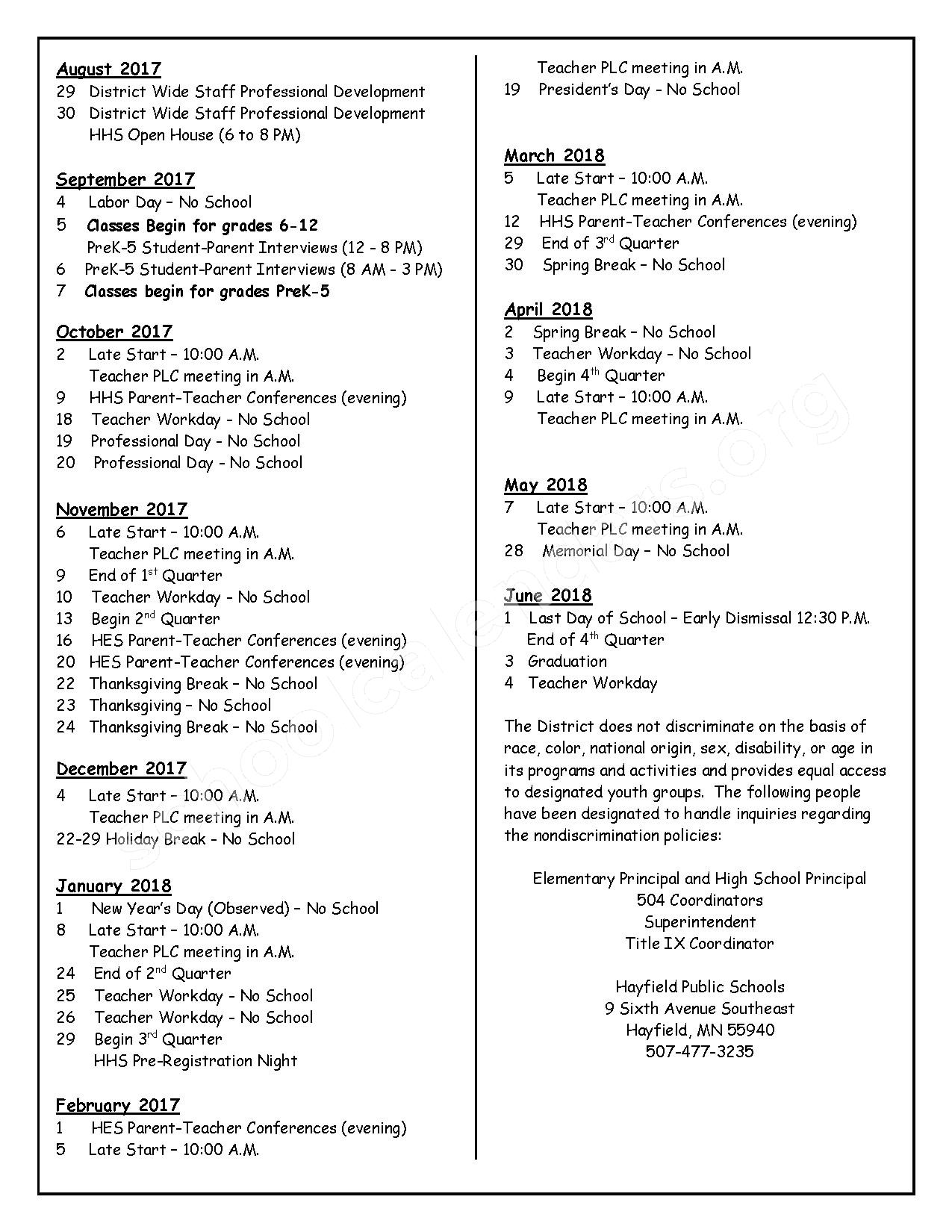 2017 - 2018 District Calendar – Hayfield Public School District – page 2
