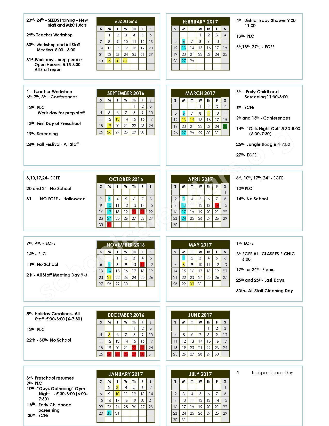 2016 - 2017 School Calendar – Lake Crystal-Wellcome Memorial – page 1