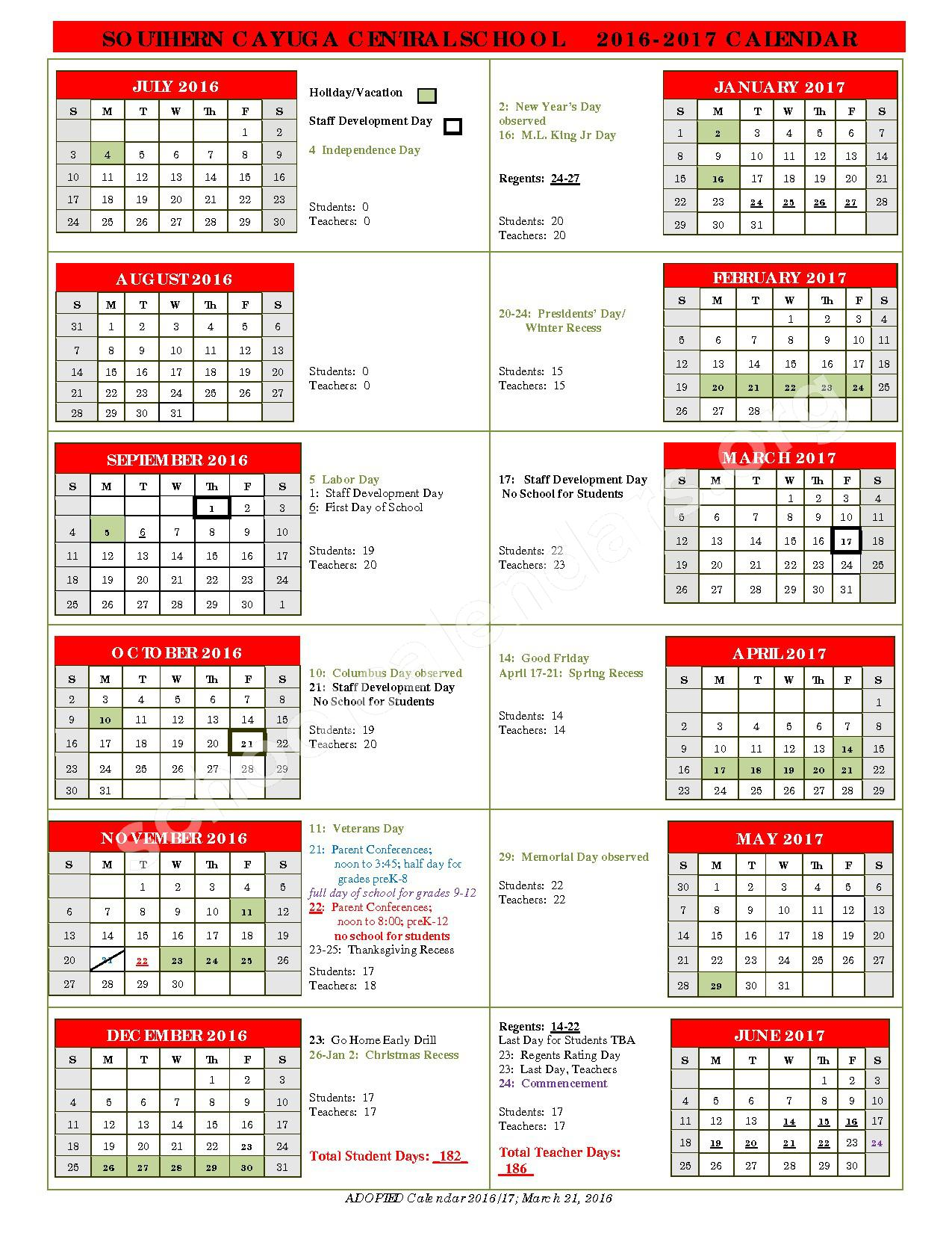 2016 - 2017 District Calendar – Southern Cayuga Central School District – page 1