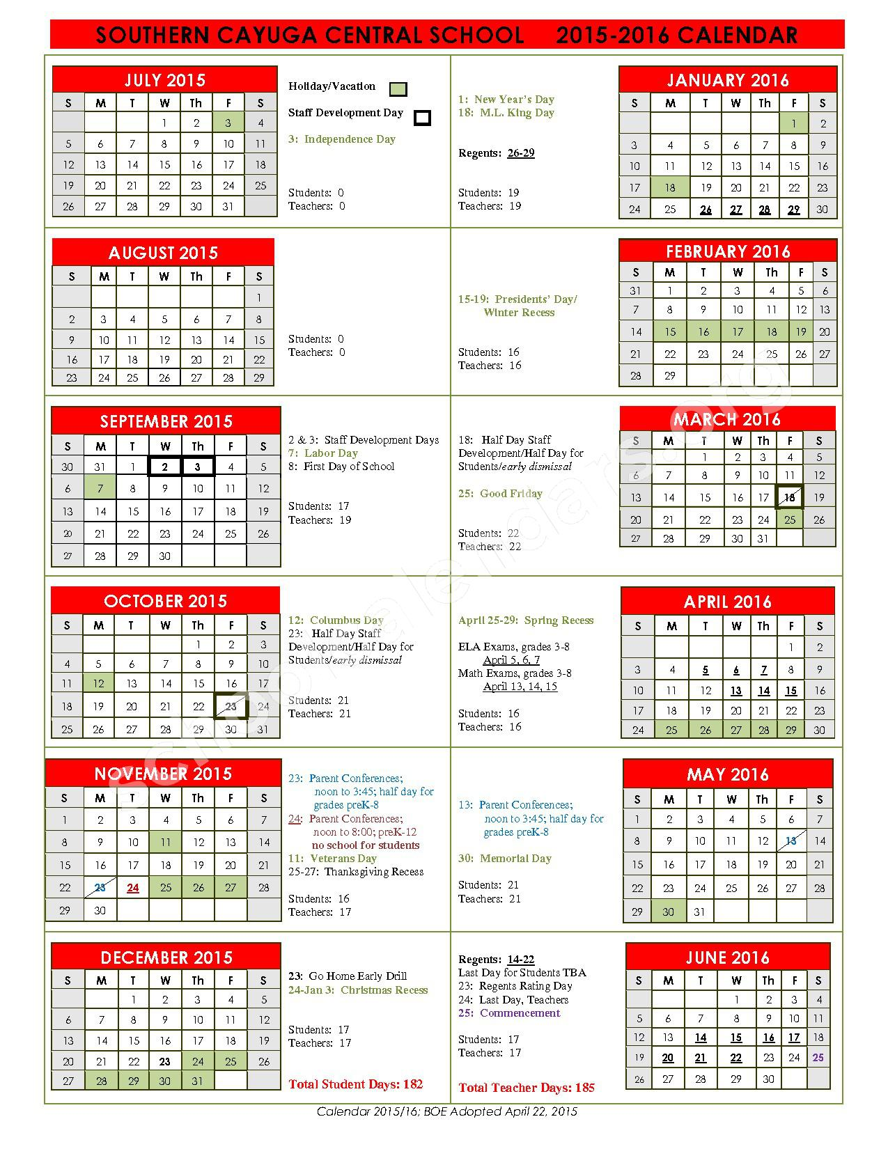2015 - 2016 District Calendar – Southern Cayuga Central School District – page 1