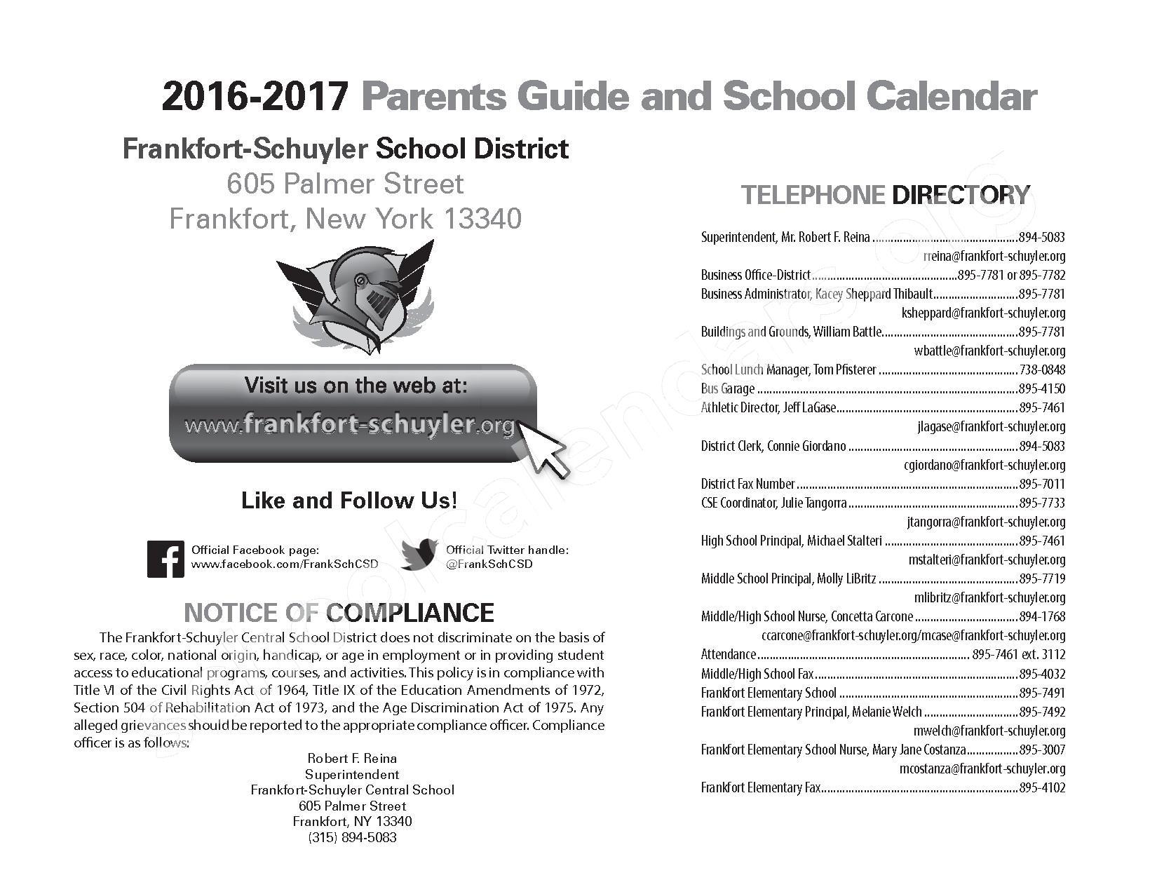2016 - 2017 School Calendar – West Canada Valley Central School District – page 2