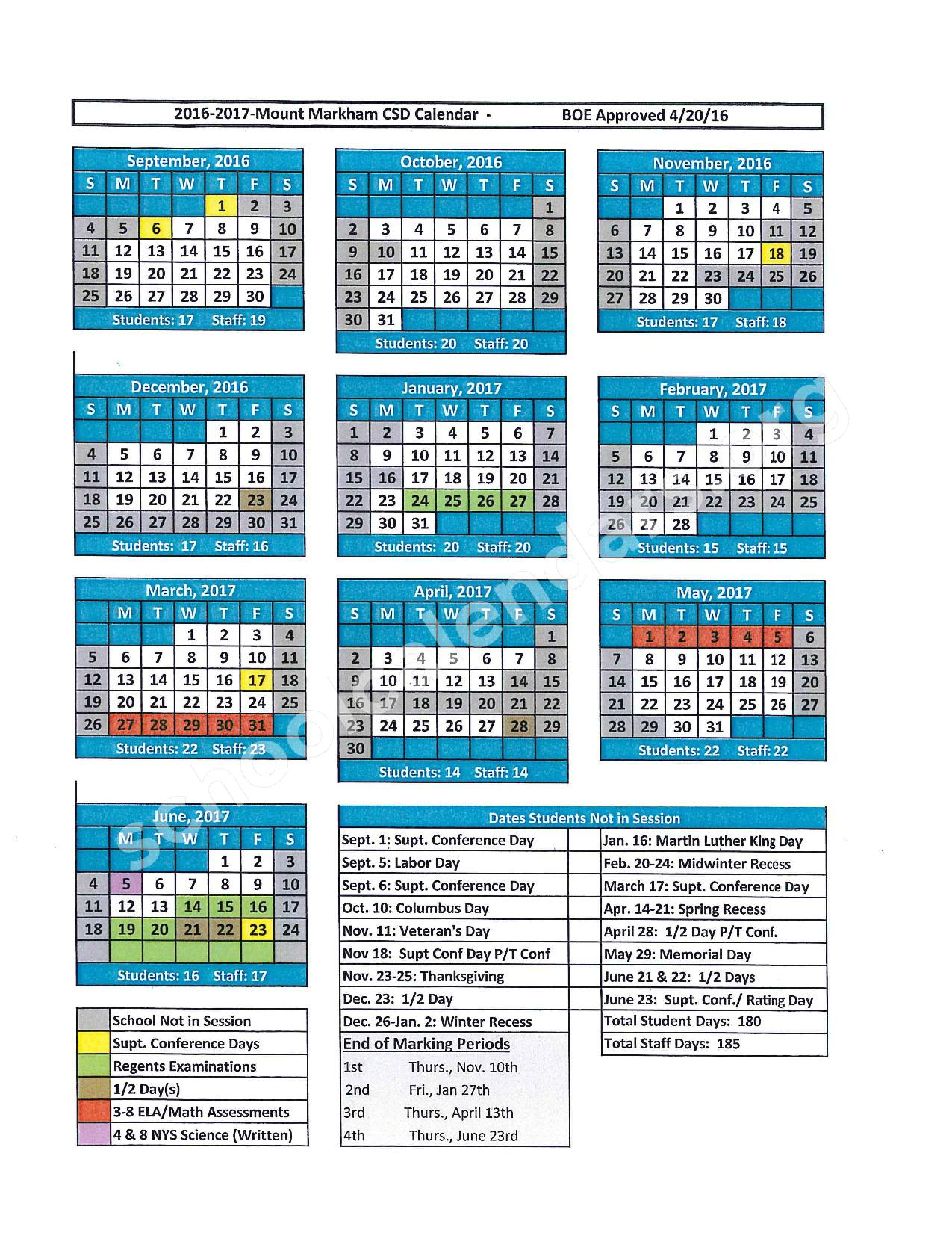 2016 - 2017 District Calendar – West Canada Valley Central School District – page 1