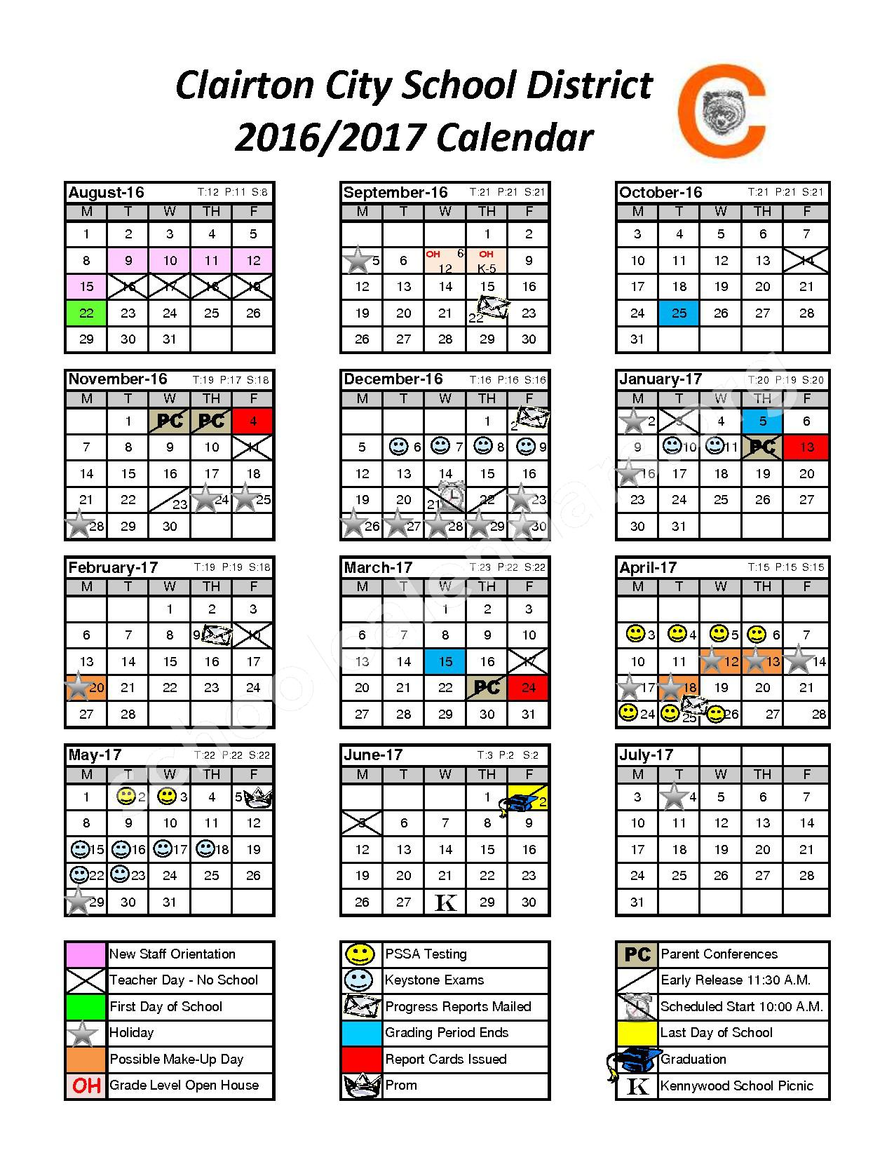 2016 - 2017 School Calendar – Clairton City School District – page 1