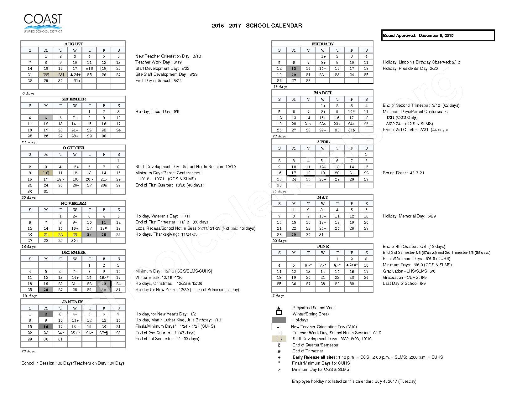 2016 - 2017 Academic Calendar – Coast Unified School District – page 1
