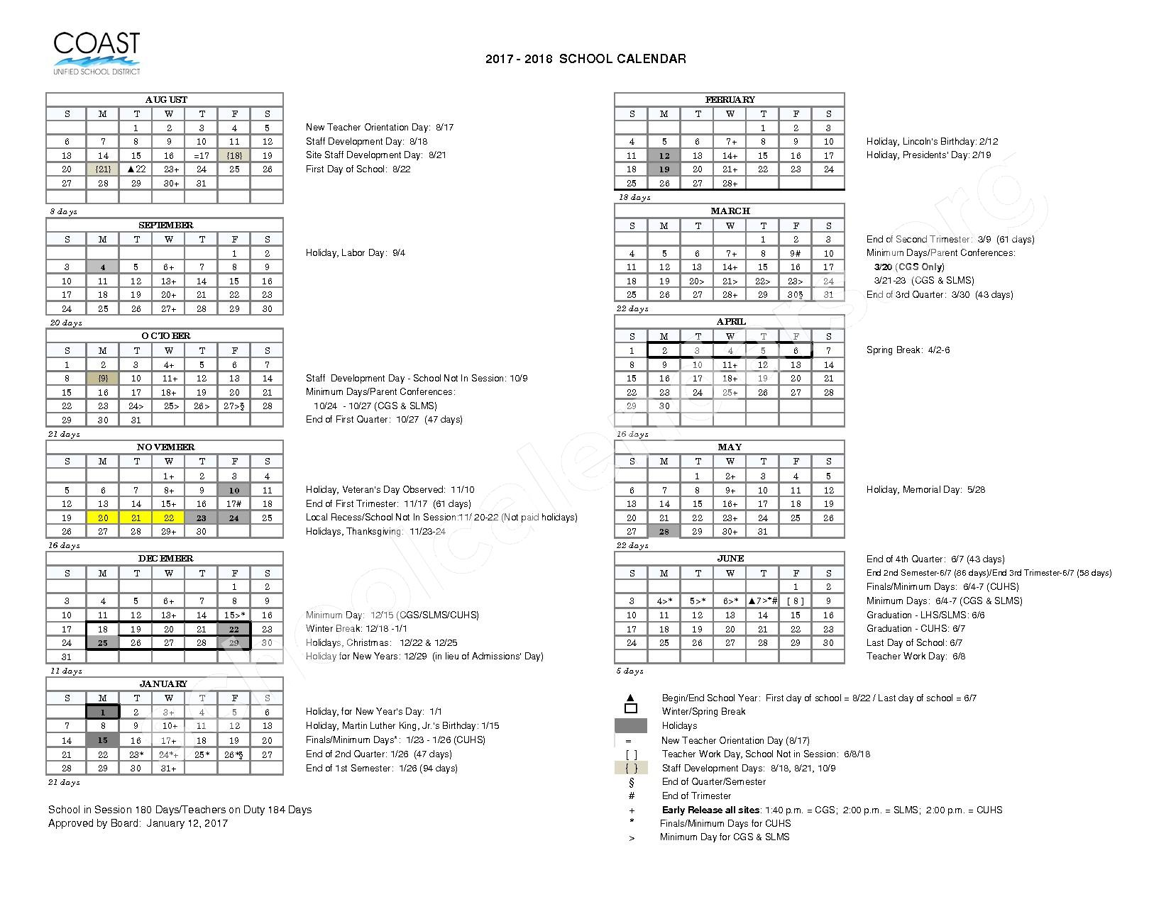 2017 - 2018 District Calendar – Coast Unified School District – page 1