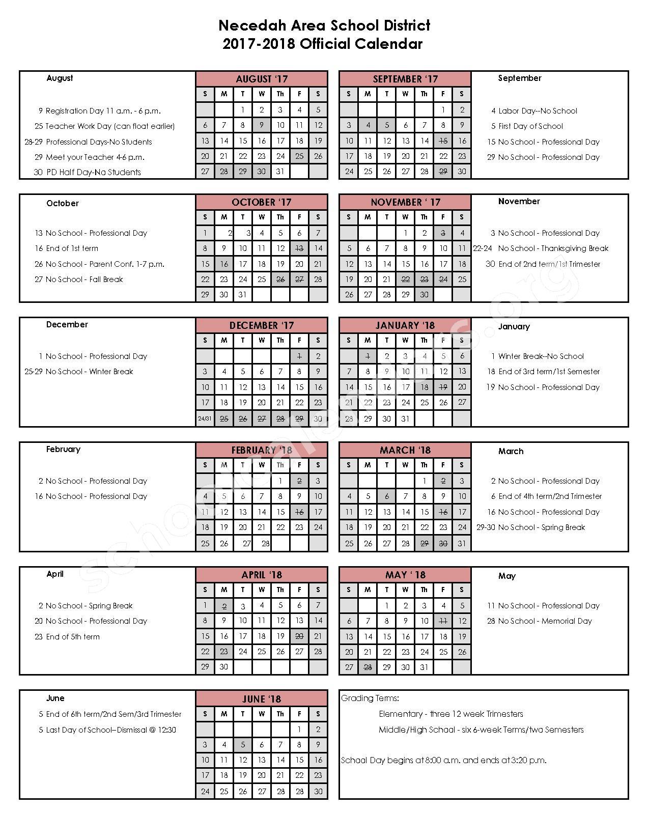 2017 - 2018 School Calendar – Necedah Area School District – page 1