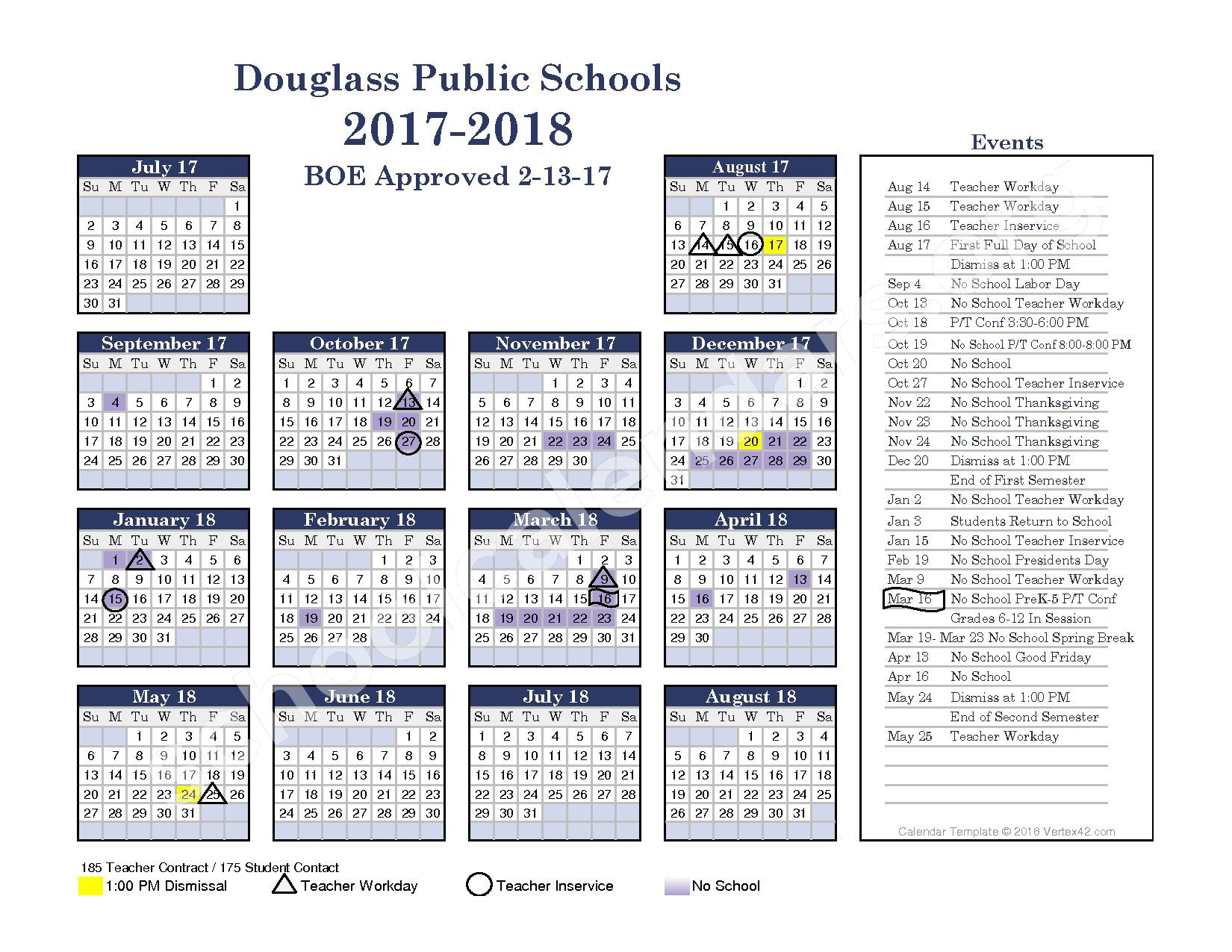 2017 - 2018 District Calendar – Leonard C Seal Elementary School – page 1