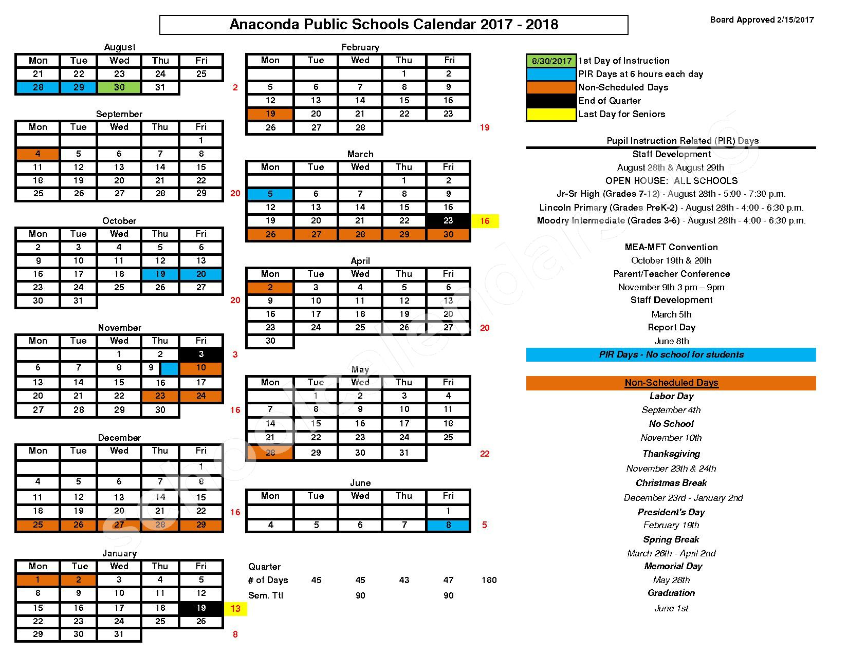 2017 - 2018 SCHOOL CALENDAR – Anaconda School District 10 – page 1