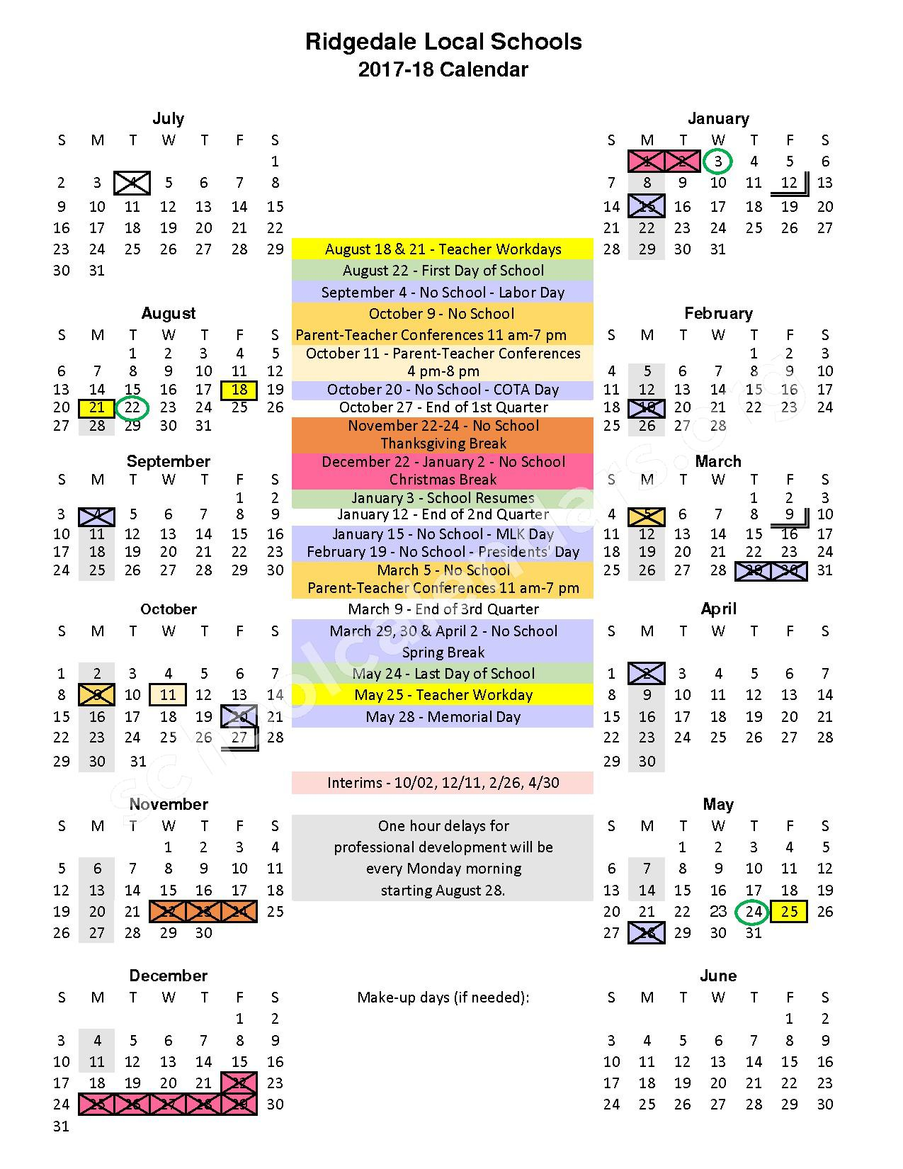 2017 - 2018 School Calendar – Ridgedale Junior / Senior High School – page 1