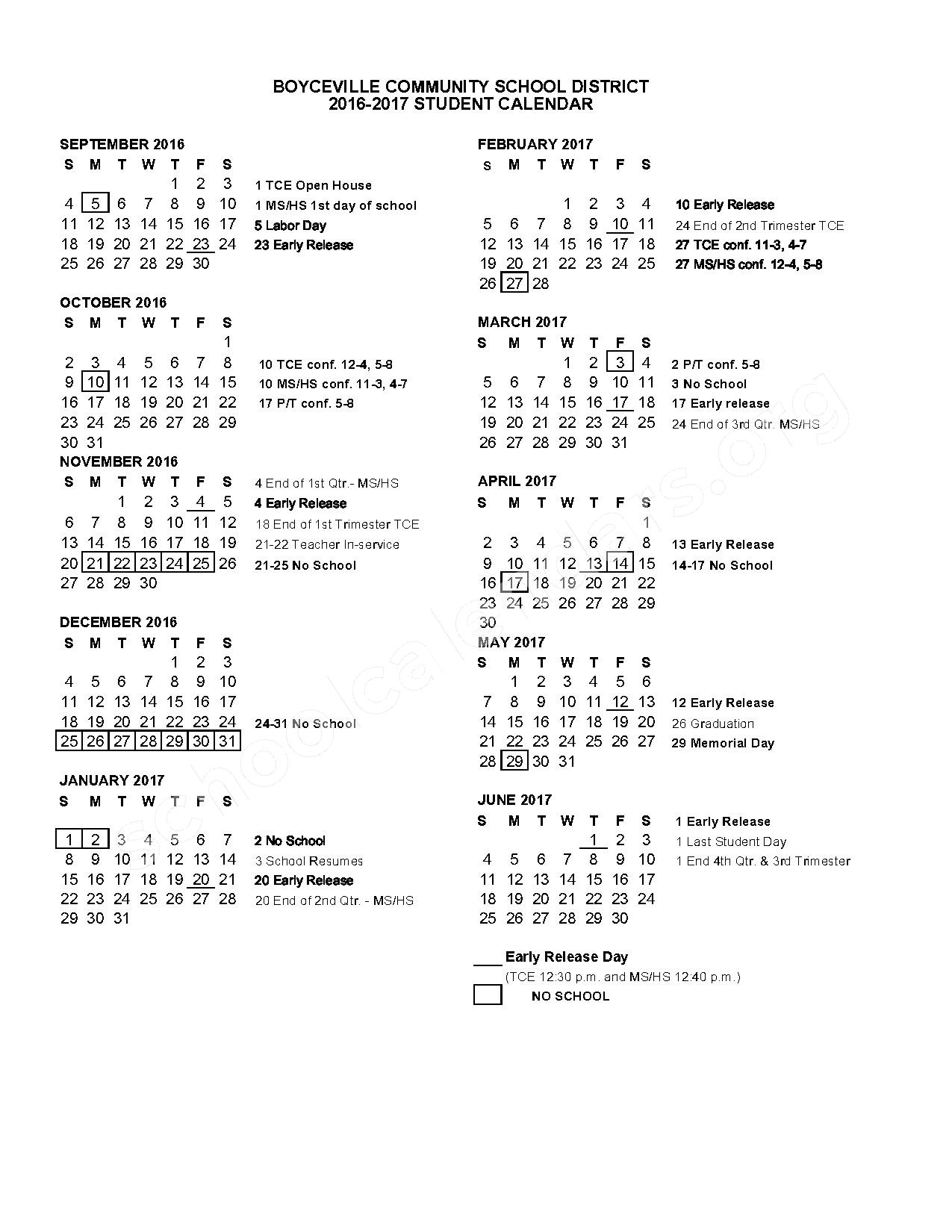 2016 - 2017 School Calendar – Tiffany Creek Elementary School – page 1