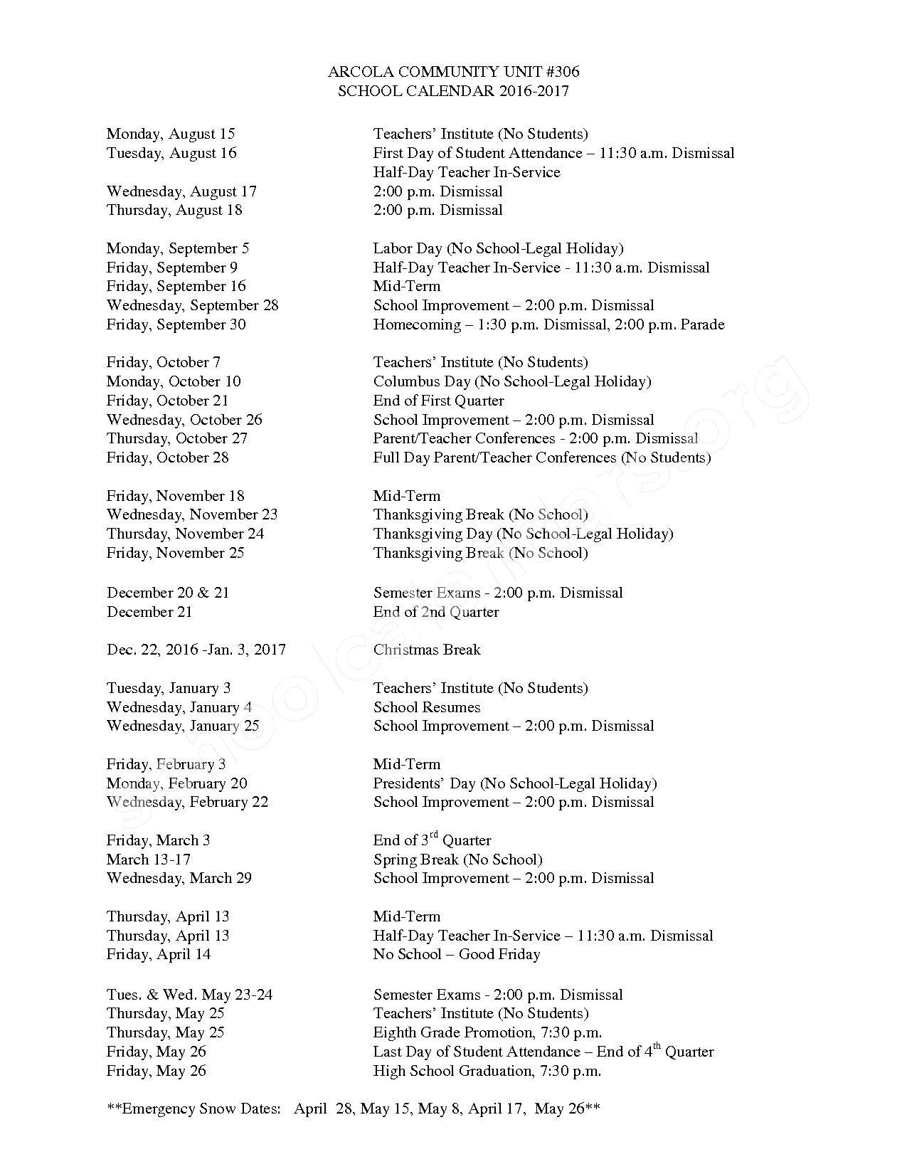 2016 - 2017 School Calendar – Arcola High School – page 1