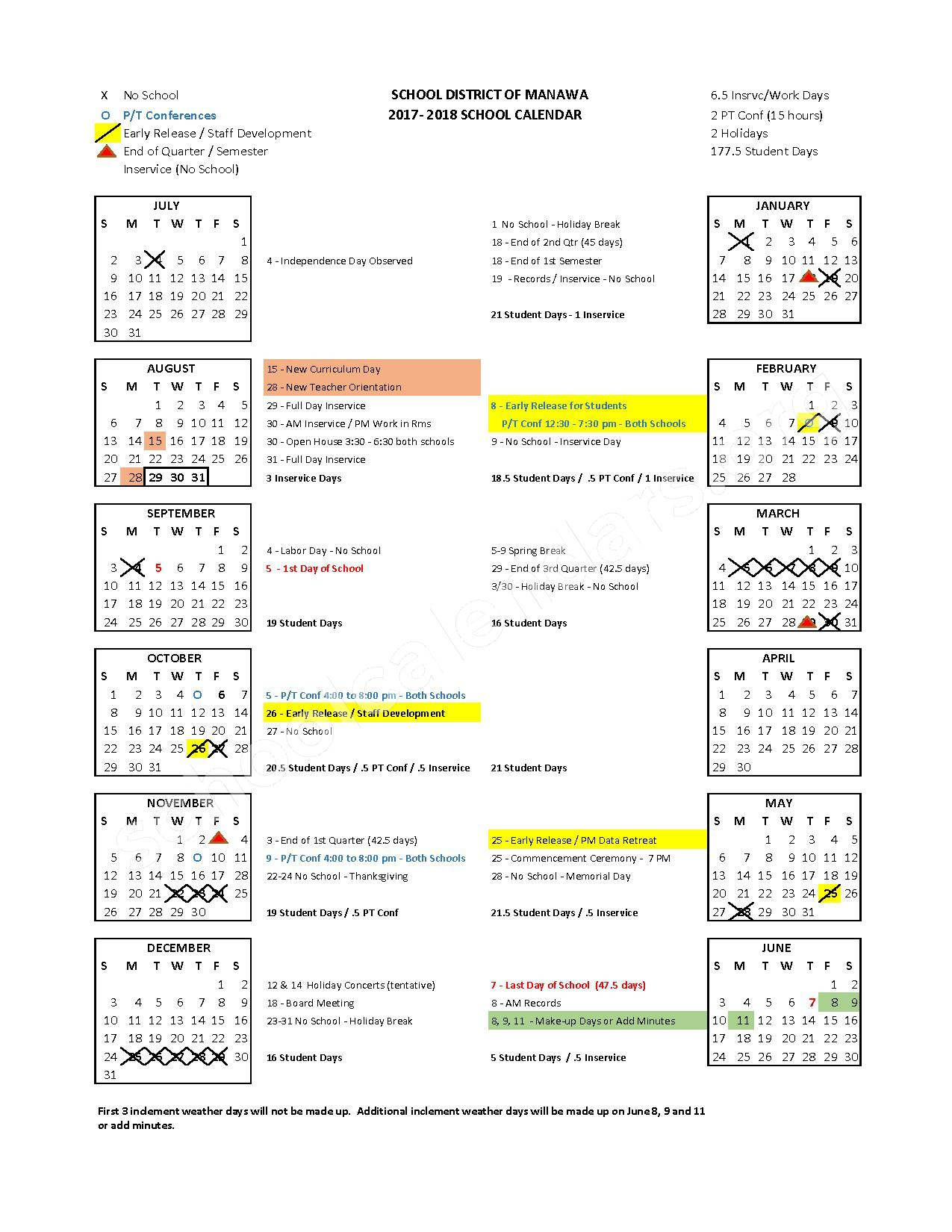 2017 - 2018 School Calendar – Manawa School District – page 1