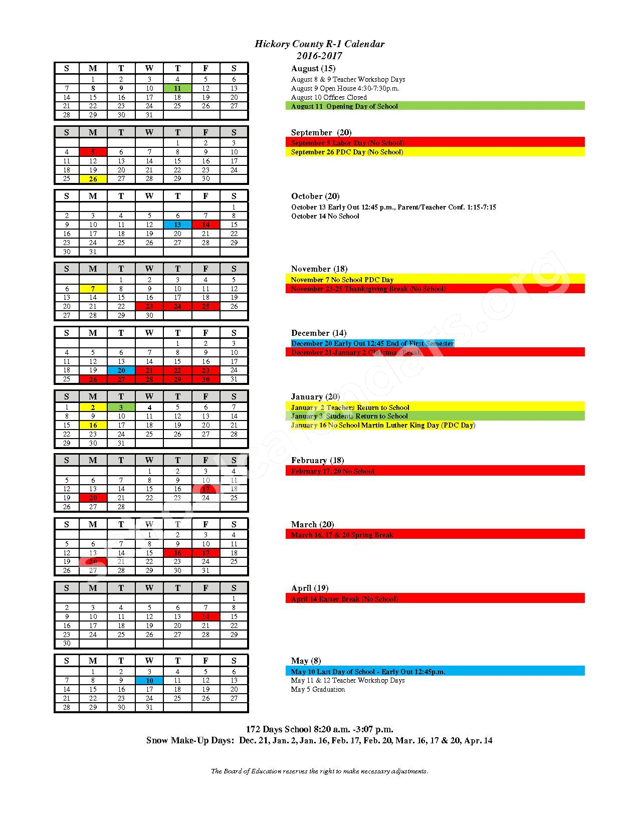 2016 - 2017 School Calendar – Hickory County R-I School District - Skyline Schools – page 1