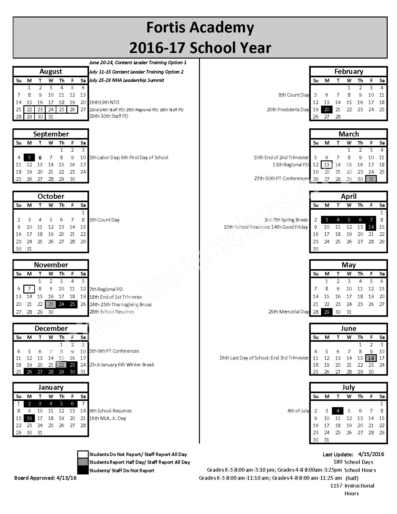 2016 - 2017 District Calendar – Fortis Academy – page 1