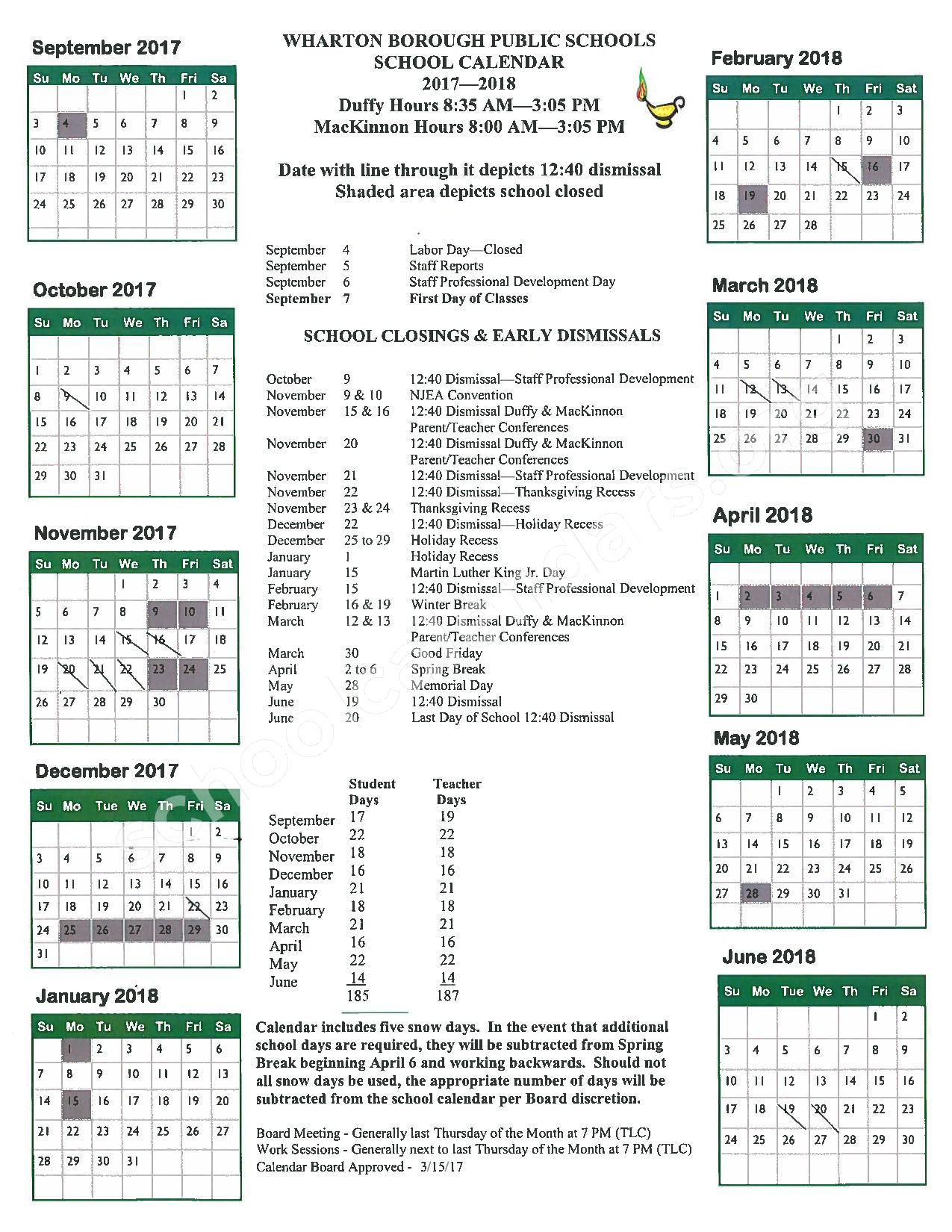 2017 - 2018 School Calendar – Wharton Borough School District – page 1