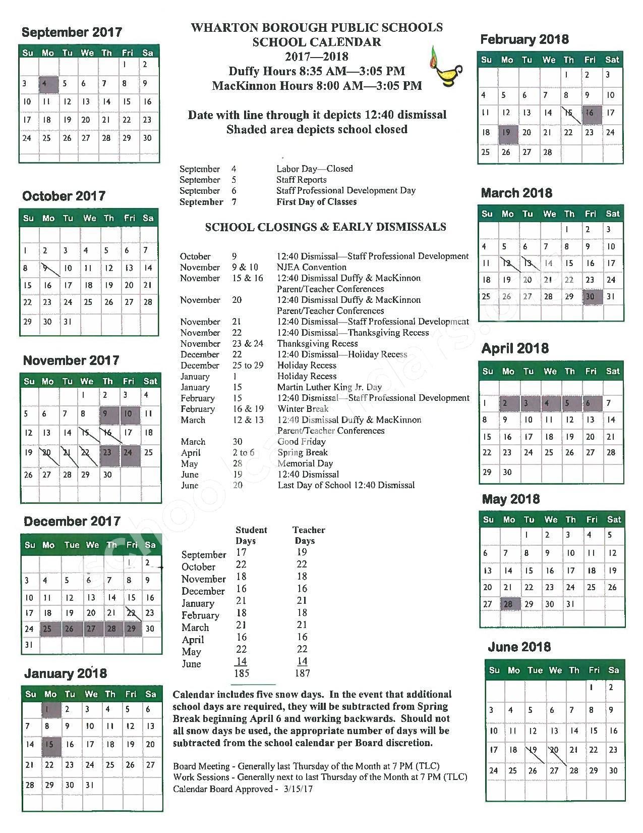 2017 - 2018 School Calendar – Marie V Duffy – page 1