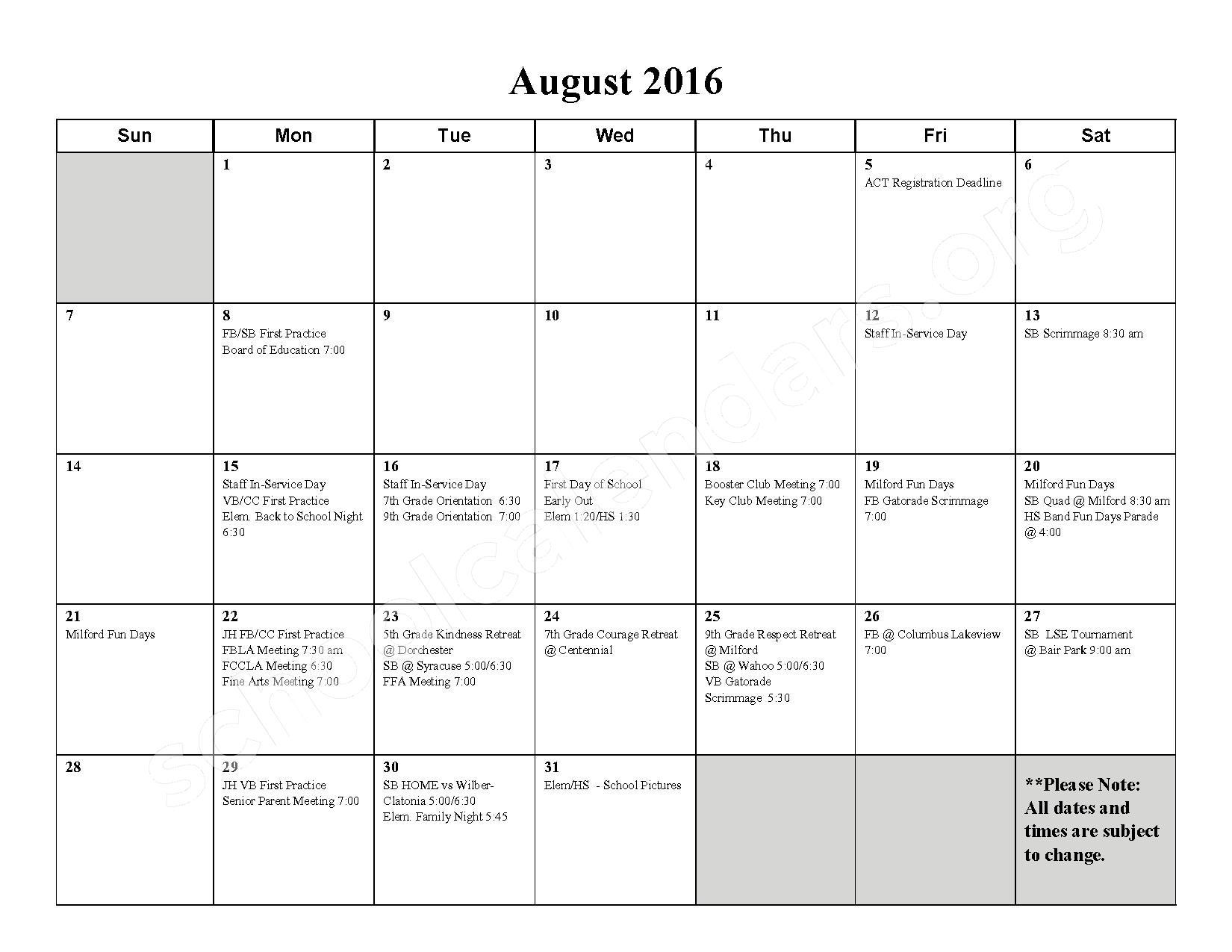 2016 - 2017 School Calendar – Milford High School – page 1