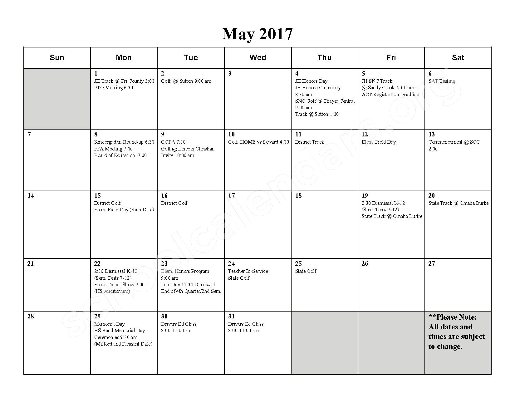 2016 - 2017 School Calendar – Milford High School – page 10