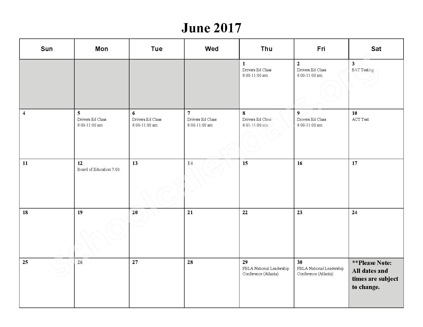 2016 - 2017 School Calendar – Milford High School – page 11