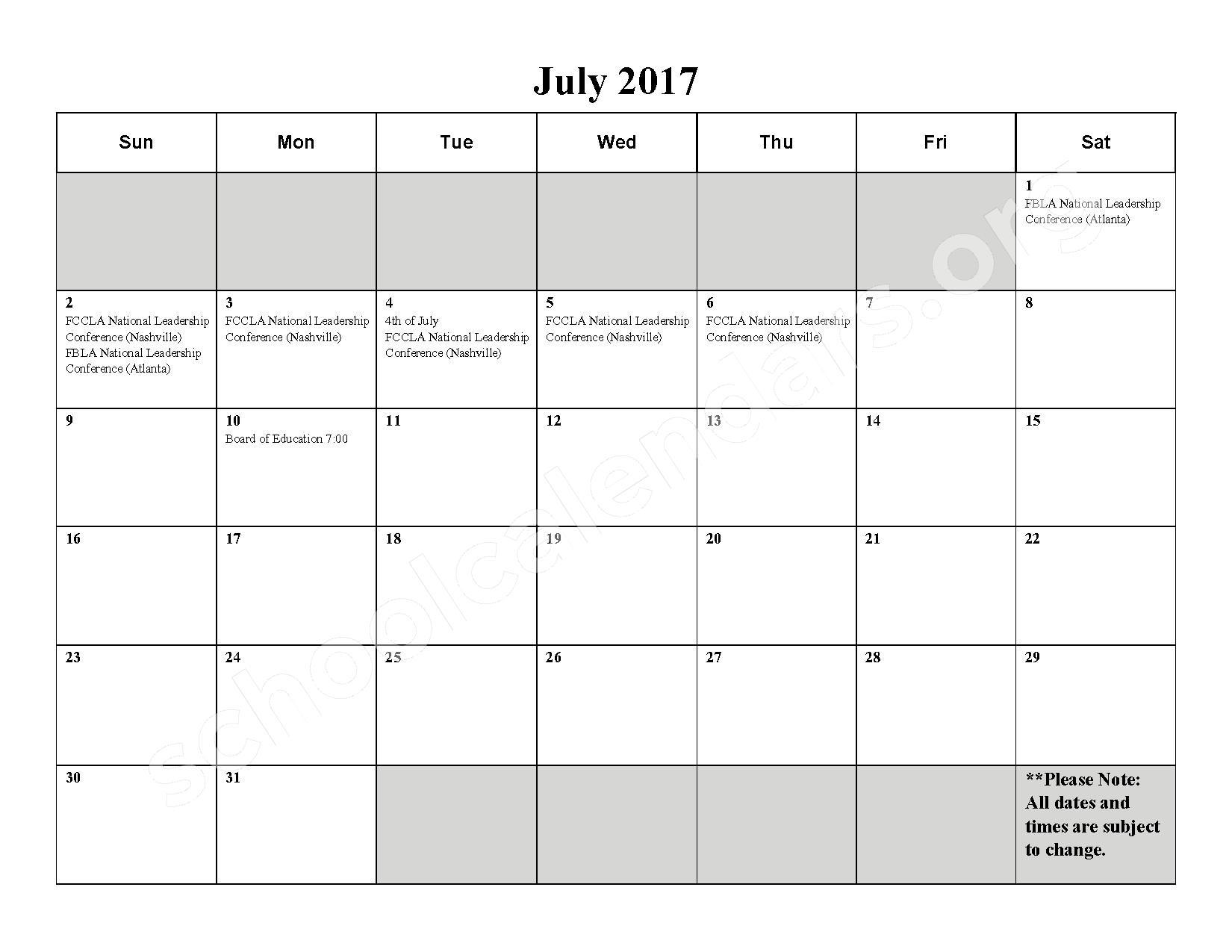 2016 - 2017 School Calendar – Milford High School – page 12