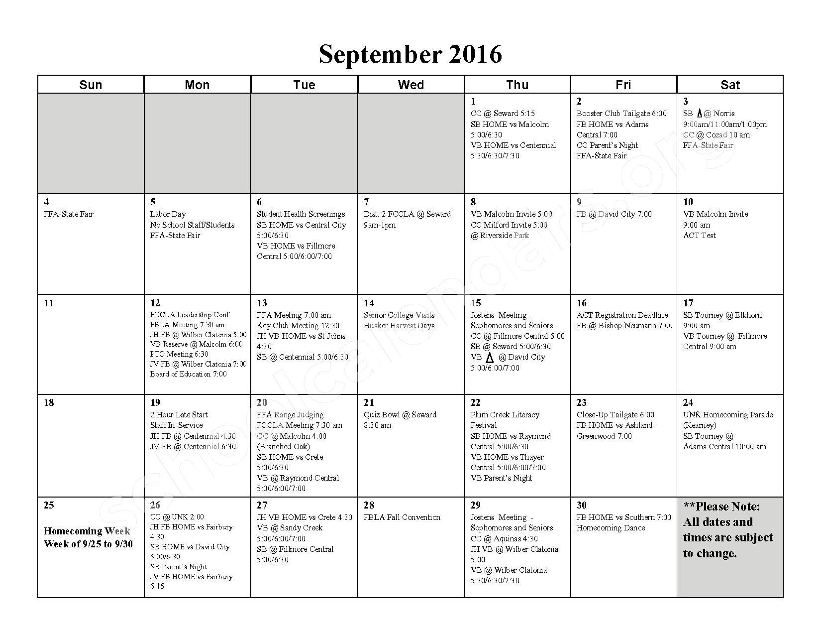 2016 - 2017 School Calendar – Milford High School – page 2