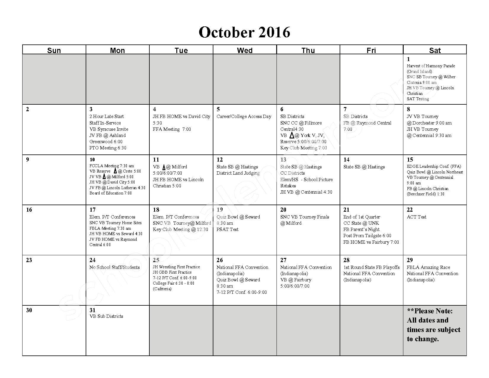 2016 - 2017 School Calendar – Milford High School – page 3