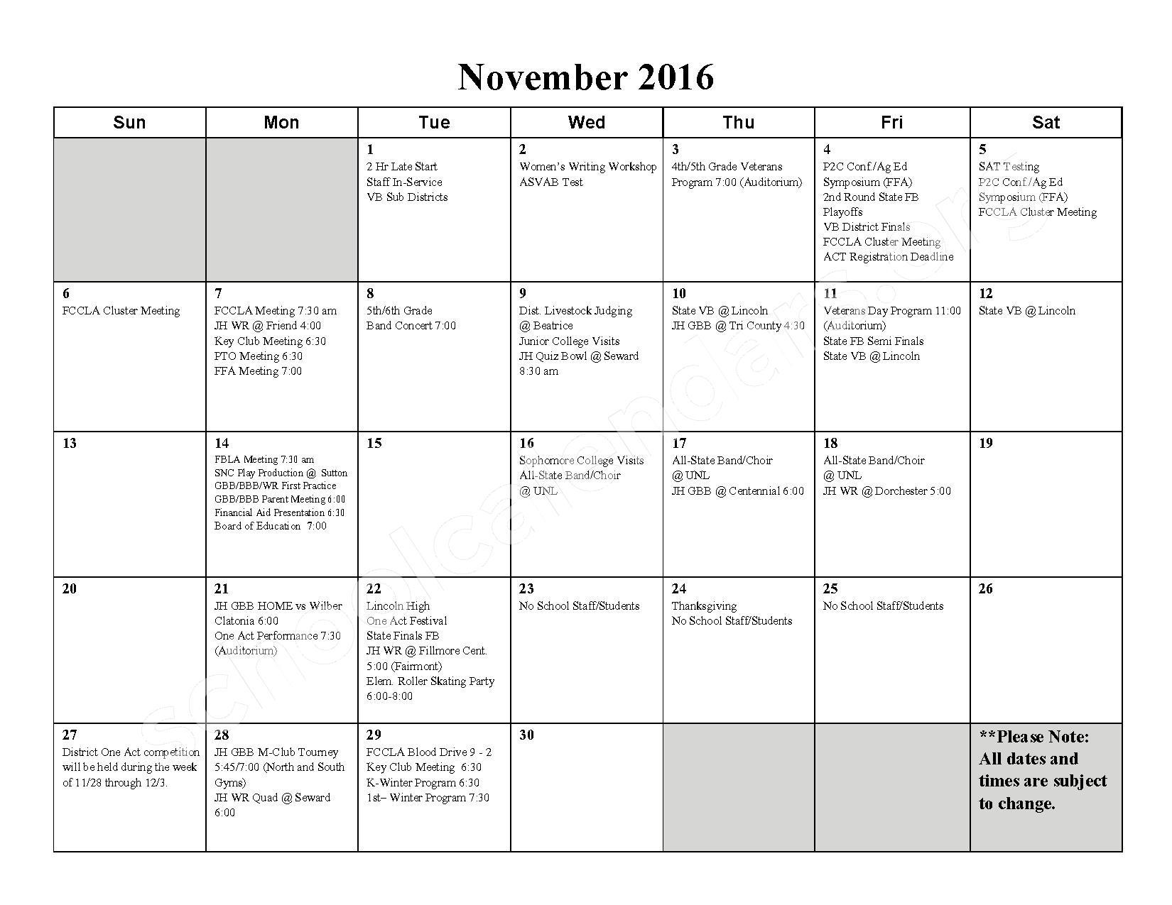 2016 - 2017 School Calendar – Milford High School – page 4