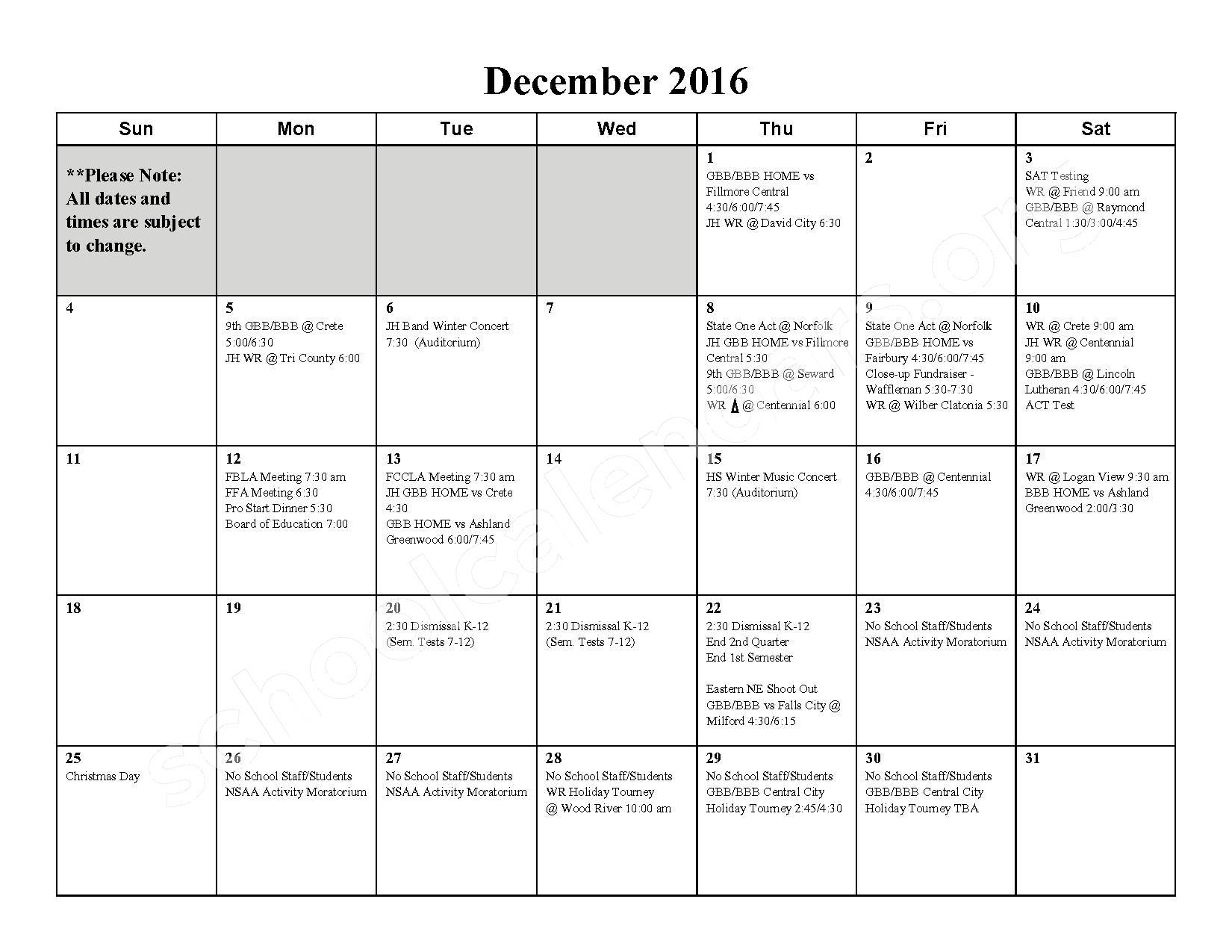 2016 - 2017 School Calendar – Milford High School – page 5