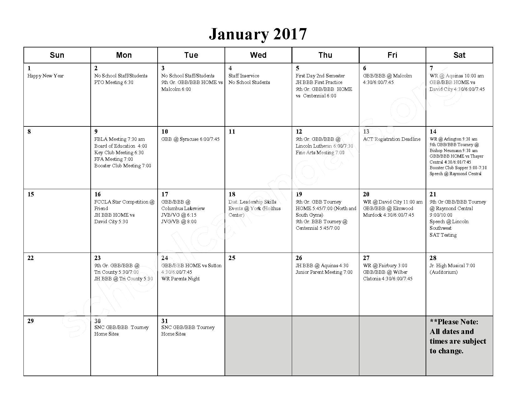 2016 - 2017 School Calendar – Milford High School – page 6