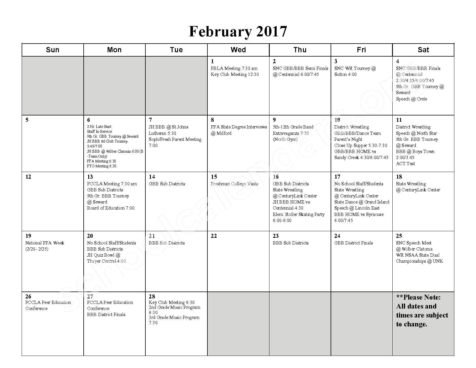 2016 - 2017 School Calendar – Milford High School – page 7